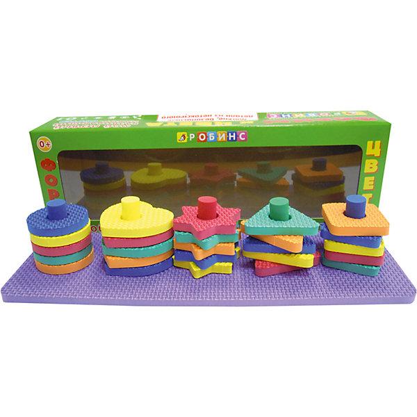 Мой первый развивающий набор-сортер Формы и цветаРазвивающие игрушки<br>Мой первый развивающий набор-сортер Формы и цвета – это и первая игрушка, и первое развивающее пособие.<br>Развивающий набор-сортер Формы и цвета - это уникальный развивающий комплект для вашего ребенка! С его помощью малыш освоит формы и изучит цвета. Набор выполнен из легкого безопасного материала в виде прямоугольного основания, на котором расположены, пять вынимающихся колышков. На них по принципу пирамидки нанизываются разноцветные элементы в виде квадрата, звездочки, круга, сердечка и треугольника. Одна сторона элементов имеет рельефную поверхность, что способствует развитию тактильных ощущений малыша. Из элементов набора также можно собирать различные фигурки. Эта игрушка поможет малышу в развитии цветового восприятия, мелкой моторики рук, координации движений, логического и пространственного мышления.<br><br>Дополнительная информация:<br><br>- В наборе: основание, 5 колышков и 25 элементов в виде геометрических фигур (по пять каждой формы)<br>- Материал: EVA<br>- Размеры: основания - 290 х 100 х 8 мм, средний размер элемента - 41 х 41 мм, длина колышка – 58 мм.<br>- Размер упаковки: 100 х 305 х 25 мм.<br>- Вес: 162 гр.<br><br>Мой первый развивающий набор-сортер Формы и цвета можно купить в нашем интернет-магазине.<br>Ширина мм: 100; Глубина мм: 305; Высота мм: 25; Вес г: 162; Возраст от месяцев: 0; Возраст до месяцев: 24; Пол: Унисекс; Возраст: Детский; SKU: 4050232;