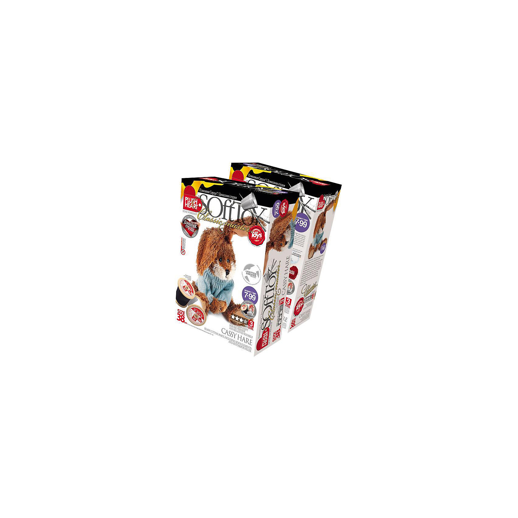 Набор Заяц Касси, Plush HeartШитьё<br>С помощью Набора Заяц Касси, Plush Heart (Плюшевое сердце) Ваш ребенок сможет сшить великолепную мягкую игрушку. В комплект набора, кроме необходимых аксессуаров, чертежей выкройки и заготовок, входит маленькое плюшевое сердечко, которое вкладывается внутрь мягкой игрушки. Вкладывая плюшевое сердце внутрь, Вы словно одушевляете сшитую своими руками мягкую игрушку. Уровень сложности 3 из 4.<br><br>Комплектация: пошитая голова игрушки, детали туловища, вязаный свитерок, синтепоновая набивка, мешочек с полимерными гранулами, нитки, плюшевое сердце<br><br>Дополнительная информация:<br>-Вес в упаковке: 310 г <br>-Размеры в упаковке: 280х190х90 мм<br>-Материалы: синтепон, полимерные гранулы, плюш, текстиль<br>-Размер готовой игрушки: 380 мм<br><br>Набор Заяц Касси станет отличным подарком как для юных мастеров и мастериц, ведь пушистый и добрый зайчонок, сшитый своими руками, будет верным другом для своих хозяев!<br><br>Набор Заяц Касси, Plush Heart (Плюшевое сердце) можно купить в нашем магазине.<br><br>Ширина мм: 280<br>Глубина мм: 190<br>Высота мм: 90<br>Вес г: 310<br>Возраст от месяцев: 84<br>Возраст до месяцев: 144<br>Пол: Женский<br>Возраст: Детский<br>SKU: 4051627