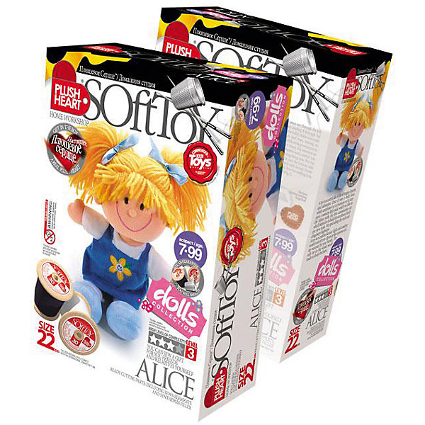 Набор Алиса, Plush HeartШитьё<br>Набор Алиса, Plush Heart (Плюшевое сердце) позволит Вашему ребенку сшить великолепную мягкую игрушку – куколку по имени Алиса. Голова, платье, руки и ноги игрушки уже пошиты. Остается только сшить их в соответствии с рекомендациями и наполнить синтепоном. В нижнюю часть туловища игрушки нужно положить мешочек с полигранулами. А затем наступит самый трогательный момент –  вложить маленькое сердечко из плюша. Увлекательный процесс изготовления куклы поможет вашему ребенку развить трудолюбие, аккуратность, художественный вкус, воображение, усидчивость и мелкую моторику. Уровень сложности 3 из 4.<br><br>Комплектация: пошитая голова игрушки, детали туловища, ручки и ножки, синтепоновая набивка, капроновый мешочек с полигранулами, нитки, плюшевое сердце<br><br>Дополнительная информация:<br>-Вес в упаковке: 210 г <br>-Размеры в упаковке: 225х150х70 мм<br>-Материалы: синтепон, полимерные гранулы, плюш, текстиль<br>-Размер готовой игрушки: 220 мм<br><br>Сшитая своими руками кукла станет для вашей дочери верной подружкой дома, во время учебы и в путешествиях!<br><br>Набор Алиса, Plush Heart (Плюшевое сердце) можно купить в нашем магазине.<br><br>Ширина мм: 225<br>Глубина мм: 150<br>Высота мм: 70<br>Вес г: 210<br>Возраст от месяцев: 84<br>Возраст до месяцев: 144<br>Пол: Женский<br>Возраст: Детский<br>SKU: 4051636