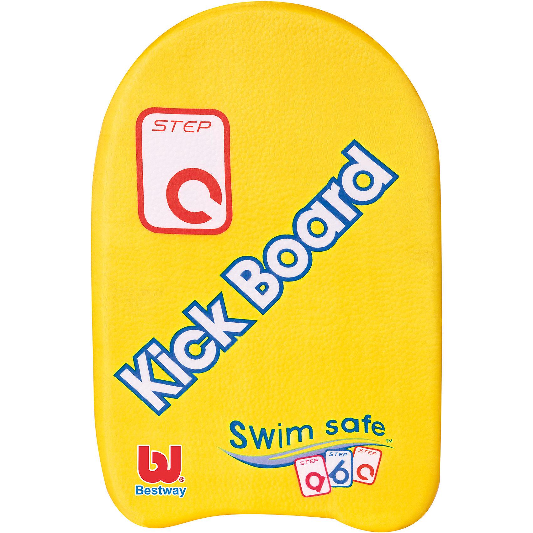 Доска для плавания Swim Safe, ступень С,  BestwayКруги и нарукавники<br>Характеристики товара:<br><br>• материал: высокоплотный пенопласт<br>• цвет: желтый<br>• размер: 43х30 см<br>• легкий материал<br>• для начинающих плавать<br>• прочный материал <br>• яркие цвета<br>• хорошо заметна на воде<br>• возраст: от 3 до 6 лет<br>• страна бренда: США, Китай<br>• страна производства: Китай<br><br>Это отличный способ научить малышей плавать и обеспечить детям веселое времяпровождение! Доска поможет ребенку больше двигаться и поддерживать хорошую физическую форму.<br><br>Предмет сделан из прочного материала, но очень легкого - доска отлично держится на воде. Предмет легкий, его удобно брать с собой. Изделия произведены из качественных и безопасных для детей материалов.<br><br>Доска для плавания Swim Safe, ступень С, от бренда Bestway (Бествей) можно купить в нашем интернет-магазине.<br><br>Ширина мм: 430<br>Глубина мм: 300<br>Высота мм: 40<br>Вес г: 105<br>Возраст от месяцев: 36<br>Возраст до месяцев: 72<br>Пол: Унисекс<br>Возраст: Детский<br>SKU: 4051653