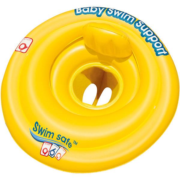 Круг для плавания с сиденьем и спинкой Swim Safe, ступень A,  BestwayКруги и нарукавники<br>Характеристики товара:<br><br>• материал: винил<br>• цвет: желтый<br>• размер: 69 см<br>• легкий материал<br>• отверстия для ног<br>• удобное сиденье со спинкой<br>• трехкамерная конструкция обеспечивает надежность<br>• надувной <br>• яркий цвет<br>• комфортный<br>• хорошо заметен на воде<br>• возраст: от 0 до 12 мес<br>• страна бренда: США, Китай<br>• страна производства: Китай<br><br>Это отличный способ научить малышей не бояться воды и обеспечить детям веселое времяпровождение! Круг поможет ребенку больше времени проводить на воде .<br><br>Предмет сделан из прочного материала, но очень легкого - отлично держится на воде. Круг легкий, его удобно брать с собой. Изделие произведено из качественных и безопасных для детей материалов.<br><br>Круг для плавания с сиденьем и спинкой Swim Safe, ступень A, от бренда Bestway (Бествей) можно купить в нашем интернет-магазине.<br>Ширина мм: 160; Глубина мм: 45; Высота мм: 245; Вес г: 452; Возраст от месяцев: 0; Возраст до месяцев: 12; Пол: Унисекс; Возраст: Детский; SKU: 4051655;