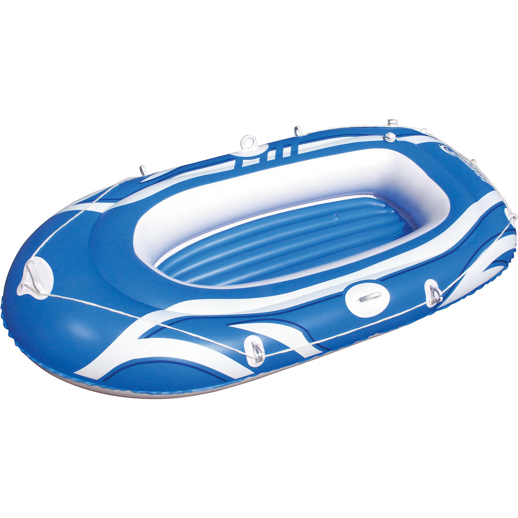Надувная лодка с двухкамерным бортом, Bestway, голубаяМатрасы и лодки<br>Характеристики товара:<br><br>• материал: винил<br>• цвет: голубой<br>• размер: 188х98 см<br>• комплектация: леерный трос, уключины, ремкомплект<br>• максимальная нагрузка: 120 кг<br>• легкий прочный материал<br>• надувная<br>• яркий цвет<br>• 1,5-местная<br>• комфортный<br>• возраст: от 3 лет<br>• страна бренда: США, Китай<br>• страна производства: Китай<br><br>Это отличный способ научить малышей не бояться воды и обеспечить детям (и взрослым тоже) веселое времяпровождение! Лодка поможет ребенку больше времени проводить на воде.<br><br>Предмет сделан из прочного материала, но очень легкого - отлично держится на воде. Лодка легкая, её удобно брать с собой. Изделие произведено из качественных и безопасных для детей материалов.<br><br>Надувную лодку с двухкамерным бортом, голубую, от бренда Bestway (Бествей) можно купить в нашем интернет-магазине.<br><br>Ширина мм: 350<br>Глубина мм: 90<br>Высота мм: 330<br>Вес г: 2955<br>Возраст от месяцев: 12<br>Возраст до месяцев: 1188<br>Пол: Унисекс<br>Возраст: Детский<br>SKU: 4051678