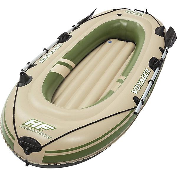 Надувная лодка Voyager 300 с веслами,  BestwayМатрасы и лодки<br>Характеристики товара:<br><br>• материал: винил<br>• размер: 228х121 см<br>• комплектация: лодка, разборные весла длиной 124 см<br>• максимальная нагрузка: 190 кг<br>• легкий прочный материал<br>• надувная<br>• безопасные клапаны<br>• прочный испытанный винил<br>• трехкамерная конструкция<br>• веревка по периметру лодки<br>• надувной пол I-Beam для комфорта и устойчивости<br>• встроенные ручки по бокам лодки<br>• крепкие уключины для весел<br>• крепление для фиксации весел<br>• буксировочное кольцо<br>• быстрое надутие/сдутие благодаря скручивающимся клапанам<br>• встроенный держатель удочки<br>• страна бренда: США, Китай<br>• страна производства: Китай<br><br>Надувная лодка должна быть удобной и надежной. Именно такая эта модель. В ней предусмотрено множество мелочей для комфортного отдыха на воде или рыбалки. Лодка вместительная дополнена двумя легкими веслами - с помощью ней можно отлично провести время на водоеме!<br><br>Предмет сделан из прочного материала, но очень легкого - отлично держится на воде. Лодка легкая, её удобно брать с собой. Изделие произведено из качественных и безопасных для детей материалов.<br><br>Надувную лодку Voyager 300 с веслами от бренда Bestway (Бествей) можно купить в нашем интернет-магазине.<br>Ширина мм: 300; Глубина мм: 160; Высота мм: 700; Вес г: 6542; Возраст от месяцев: 12; Возраст до месяцев: 1188; Пол: Унисекс; Возраст: Детский; SKU: 4051681;