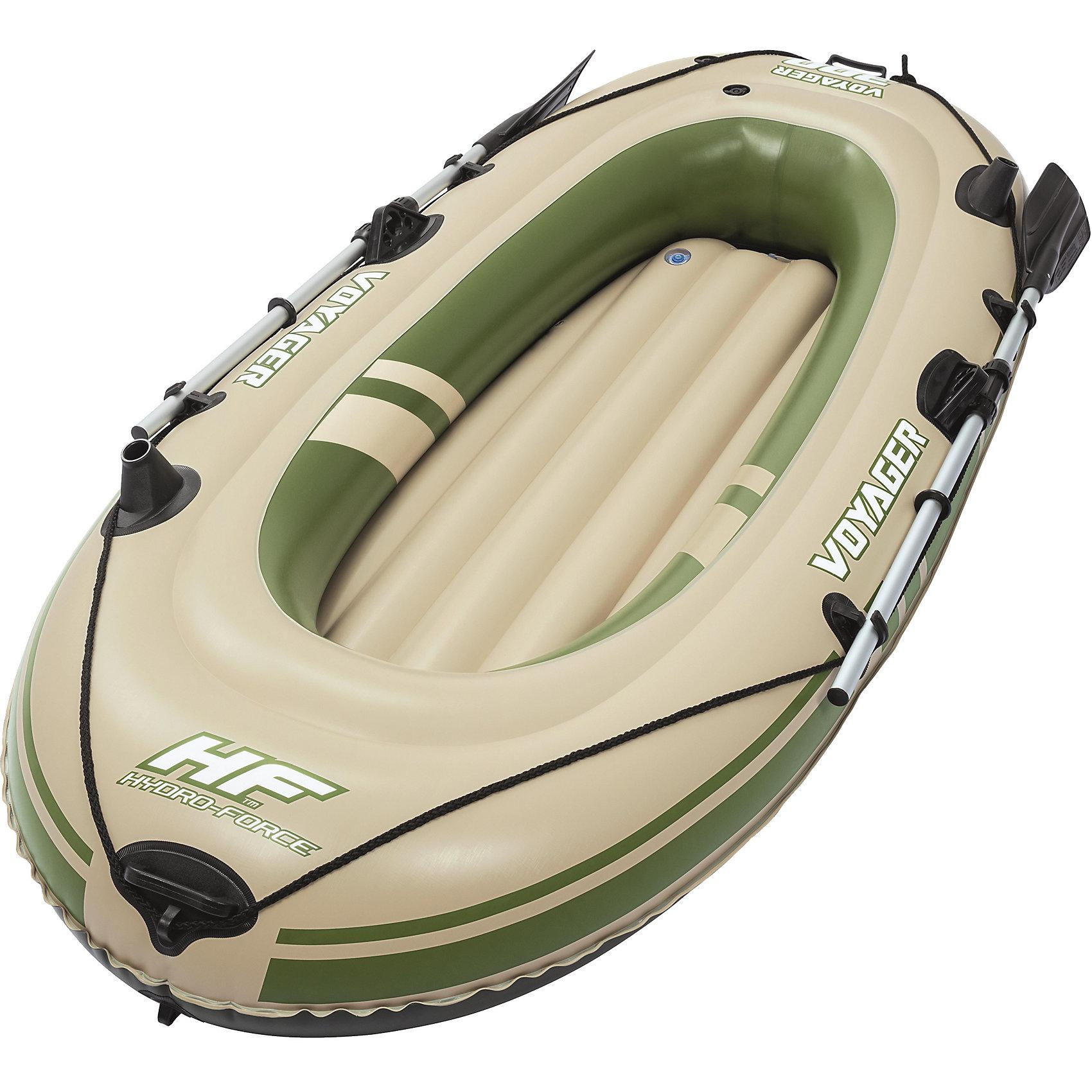 Надувная лодка Voyager 300 с веслами,  BestwayМатрасы и лодки<br>Характеристики товара:<br><br>• материал: винил<br>• размер: 228х121 см<br>• комплектация: лодка, разборные весла длиной 124 см<br>• максимальная нагрузка: 190 кг<br>• легкий прочный материал<br>• надувная<br>• безопасные клапаны<br>• прочный испытанный винил<br>• трехкамерная конструкция<br>• веревка по периметру лодки<br>• надувной пол I-Beam для комфорта и устойчивости<br>• встроенные ручки по бокам лодки<br>• крепкие уключины для весел<br>• крепление для фиксации весел<br>• буксировочное кольцо<br>• быстрое надутие/сдутие благодаря скручивающимся клапанам<br>• встроенный держатель удочки<br>• страна бренда: США, Китай<br>• страна производства: Китай<br><br>Надувная лодка должна быть удобной и надежной. Именно такая эта модель. В ней предусмотрено множество мелочей для комфортного отдыха на воде или рыбалки. Лодка вместительная дополнена двумя легкими веслами - с помощью ней можно отлично провести время на водоеме!<br><br>Предмет сделан из прочного материала, но очень легкого - отлично держится на воде. Лодка легкая, её удобно брать с собой. Изделие произведено из качественных и безопасных для детей материалов.<br><br>Надувную лодку Voyager 300 с веслами от бренда Bestway (Бествей) можно купить в нашем интернет-магазине.<br><br>Ширина мм: 300<br>Глубина мм: 160<br>Высота мм: 700<br>Вес г: 6542<br>Возраст от месяцев: 12<br>Возраст до месяцев: 1188<br>Пол: Унисекс<br>Возраст: Детский<br>SKU: 4051681