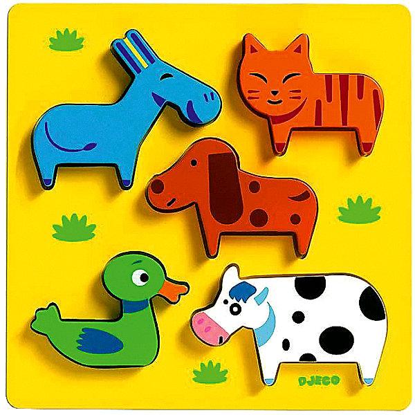 Сортировка-пазл Домашние животные, DJECOПазлы для малышей<br>Рамка-вкладыш  «Домашние животные» - первый пазл для вашего малыша.  Яркая деревянная рамка-вкладыш обязательно привлечет внимание ребенка и поможет развить мелкую моторику, цветовосприятие и воображение.  Кроме того, яркий пазл знакомит кроху с миром животных:  малыш узнает, как выглядит утка, корова, кот, собака и осел. Привлекательные фигурки приятны на ощупь, их интересно держать в руках и размещать на дощечке. Игрушка выполнена из высококачественных материалов, не имеет острых углов и мелких деталей, безопасна даже для маленьких детей. <br><br>Дополнительная информация:<br><br>- Материал: дерево. <br>- Размер: 21х21х2,2 см.<br><br>Сортировку-пазл Домашние животные, DJECO (Джеко), можно купить в машем магазине.<br><br>Ширина мм: 210<br>Глубина мм: 210<br>Высота мм: 22<br>Вес г: 250<br>Возраст от месяцев: 12<br>Возраст до месяцев: 48<br>Пол: Унисекс<br>Возраст: Детский<br>SKU: 4051880
