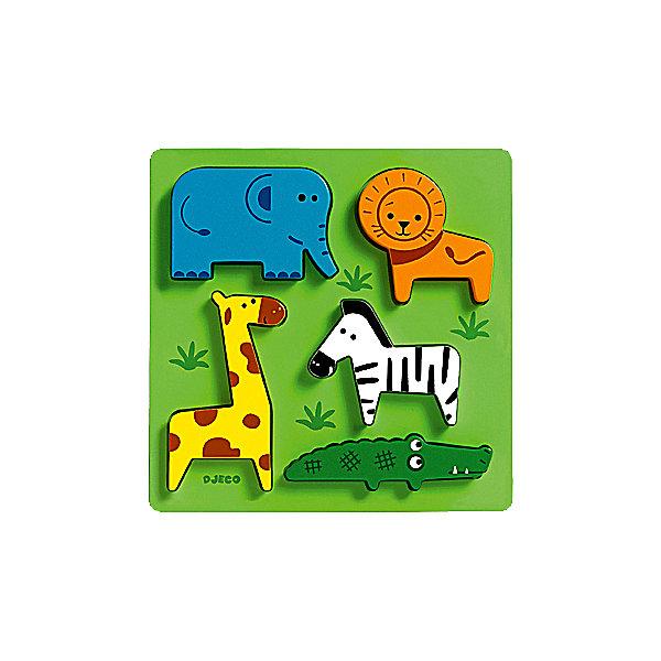 Сортировка-пазл Животные сафари, DJECOПазлы для малышей<br>Рамка-вкладыш  «Животные сафари» - первый пазл для вашего малыша.  Яркая деревянная рамка-вкладыш обязательно привлечет внимание ребенка и поможет развить мелкую моторику, цветовосприятие и воображение.  <br>Увлекательная игра познакомит детей с главными обитателями Африки. На зеленом поле уютно разместились: красочных лев, слоненок, жираф, зебра и крокодил. Привлекательные фигурки приятны на ощупь, их интересно держать в руках и размещать на дощечке. Игрушка выполнена из высококачественных материалов, не имеет острых углов и мелких деталей, безопасна даже для маленьких детей. <br><br>Дополнительная информация:<br><br>- Материал: дерево. <br>- Размер: 21х21х2,2 см.<br><br>Сортировку-пазл Животные сафари, DJECO (Джеко), можно купить в машем магазине.<br>Ширина мм: 210; Глубина мм: 210; Высота мм: 22; Вес г: 250; Возраст от месяцев: 12; Возраст до месяцев: 48; Пол: Унисекс; Возраст: Детский; SKU: 4051881;