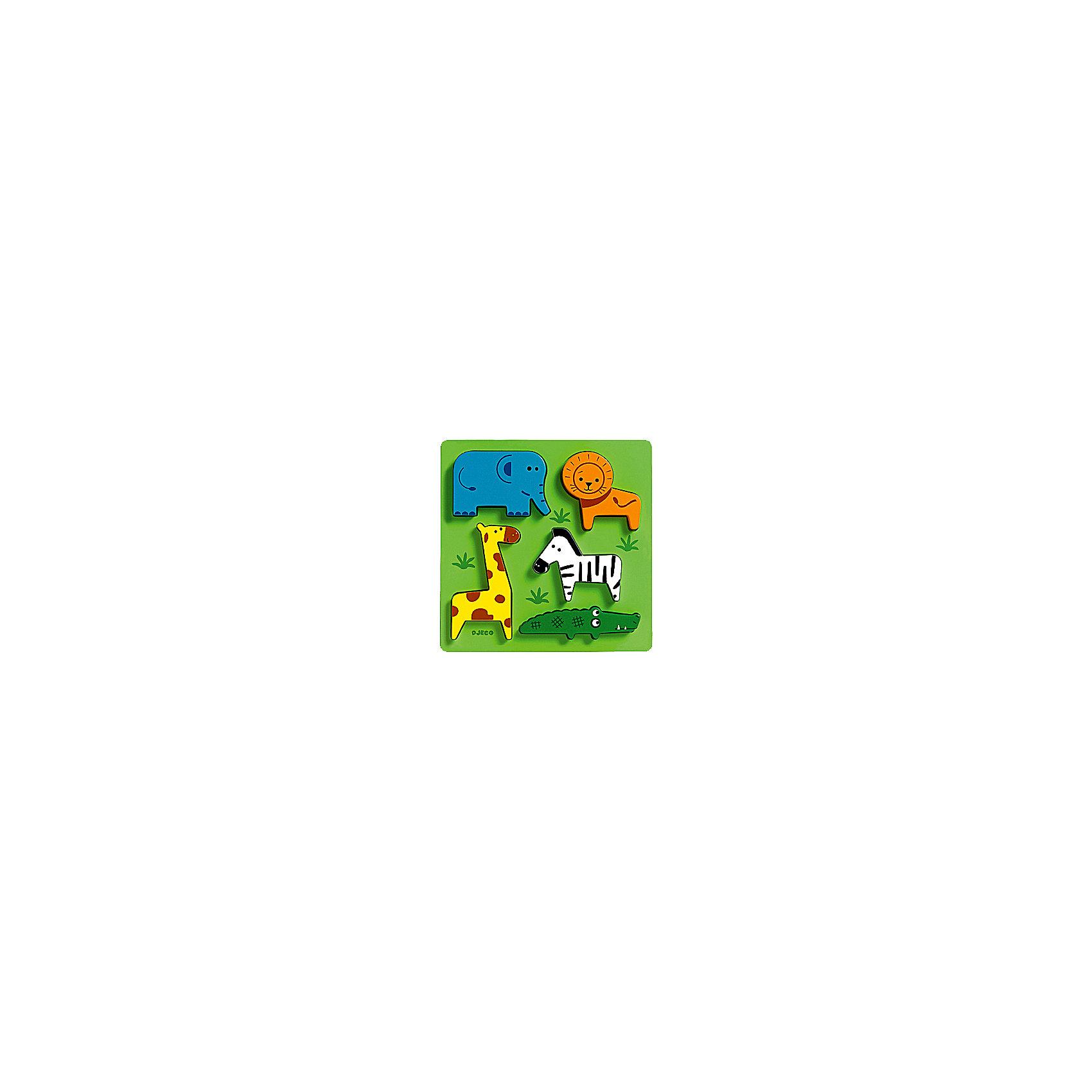 Сортировка-пазл Животные сафари, DJECOдо 50 деталей<br>Рамка-вкладыш  «Животные сафари» - первый пазл для вашего малыша.  Яркая деревянная рамка-вкладыш обязательно привлечет внимание ребенка и поможет развить мелкую моторику, цветовосприятие и воображение.  <br>Увлекательная игра познакомит детей с главными обитателями Африки. На зеленом поле уютно разместились: красочных лев, слоненок, жираф, зебра и крокодил. Привлекательные фигурки приятны на ощупь, их интересно держать в руках и размещать на дощечке. Игрушка выполнена из высококачественных материалов, не имеет острых углов и мелких деталей, безопасна даже для маленьких детей. <br><br>Дополнительная информация:<br><br>- Материал: дерево. <br>- Размер: 21х21х2,2 см.<br><br>Сортировку-пазл Животные сафари, DJECO (Джеко), можно купить в машем магазине.<br><br>Ширина мм: 210<br>Глубина мм: 210<br>Высота мм: 22<br>Вес г: 250<br>Возраст от месяцев: 12<br>Возраст до месяцев: 48<br>Пол: Унисекс<br>Возраст: Детский<br>SKU: 4051881