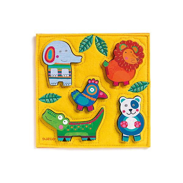 Головоломка - пазл Джунга , DJECOПазлы до 64 деталей<br>Головоломка - пазл Джунга - первый пазл для вашего малыша.  Яркая деревянная головоломка обязательно привлечет внимание ребенка и поможет развить мелкую моторику, цветовосприятие и воображение.  <br>На поле находятся 5 забавных фигурок из дерева, которые малыш должен вставить в специальные отверстия. Слоненок, лев, птичка, крокодил и панда обязательно понравятся малышу, и он будет играть с ними снова и снова. Привлекательные фигурки приятны на ощупь, их интересно держать в руках и размещать на дощечке. Игрушка выполнена из высококачественных материалов, не имеет острых углов и мелких деталей, безопасна даже для маленьких детей. <br><br>Дополнительная информация:<br><br>- Материал: дерево. <br>- Размер: 21х21х2,2 см.<br><br>Головоломку - пазл Джунга, DJECO (Джеко), можно купить в машем магазине.<br><br>Ширина мм: 210<br>Глубина мм: 210<br>Высота мм: 22<br>Вес г: 250<br>Возраст от месяцев: 12<br>Возраст до месяцев: 48<br>Пол: Унисекс<br>Возраст: Детский<br>SKU: 4051882