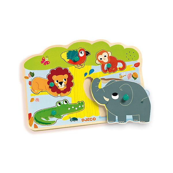 Звуковая рамка-вкладыш Джунгли, DJECOПазлы для малышей<br>Музыкальный пазл «Ферма» способствует развитию мелкой моторики и речи. Рамка выполнена в виде большого дерева, рядом с которым живут милые животные: крокодил, лев, слон, попугай и обезьянка. Фигурки приятны наощупь и ярко раскрашены - малышу обязательно понравится играть с ними. Играя с этим пазлом, кроха узнает как  разговаривают животные, научится распознавать их по внешнему виду и голосу. Игрушка выполнена из высококачественных гипоаллергенных материалов безопасных для детей. <br><br>Дополнительная информация:<br><br>- Материал: дерево. <br>- Размер: 28,5х21х2,5 см.<br><br>Звуковую рамку-вкладыш Джунгли, DJECO (Джеко), можно купить в машем магазине.<br><br>Ширина мм: 290<br>Глубина мм: 210<br>Высота мм: 15<br>Вес г: 250<br>Возраст от месяцев: 12<br>Возраст до месяцев: 48<br>Пол: Унисекс<br>Возраст: Детский<br>SKU: 4051884
