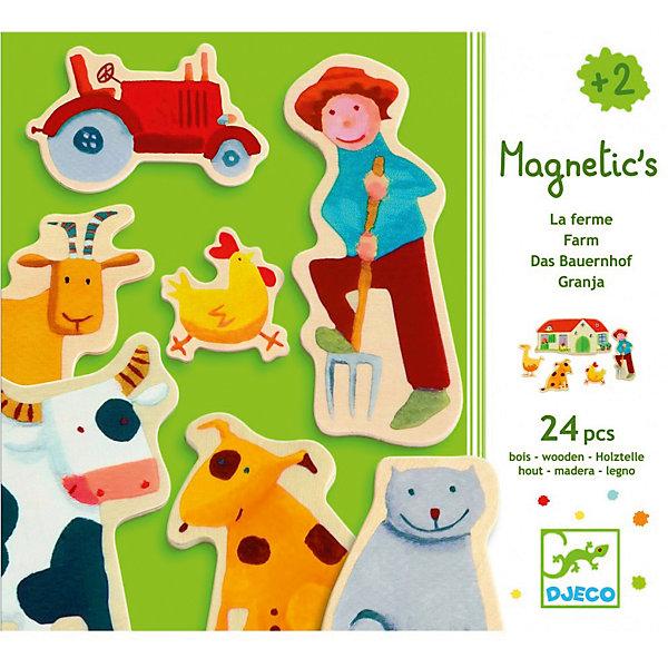 Развивающая магнитная игра Ферма, DJECOОкружающий мир<br>Малышам обязательно понравится эта чудесная игра. Деревянные фигурки на магнитах ярко раскрашены, не имеют острых углов и мелких деталей, поэтому абсолютно безопасны для детей. Игра идеально подходит для начинающих говорить малышей, она развивает словарный запас, знакомит с домашними животными и жизнью в деревне, тренирует мелкую моторику, развивает воображение. <br><br>Дополнительная информация:<br><br>- Материал: дерево, магнит.<br>- Размер упаковки: 21,8х18,8х4 см.<br>- Комплектация: 24 фигурки на магнитах. <br><br>Развивающую магнитную игру Ферма, DJECO (Джеко) можно купить в нашем магазине.<br><br>Ширина мм: 218<br>Глубина мм: 188<br>Высота мм: 40<br>Вес г: 250<br>Возраст от месяцев: 24<br>Возраст до месяцев: 84<br>Пол: Унисекс<br>Возраст: Детский<br>SKU: 4051886