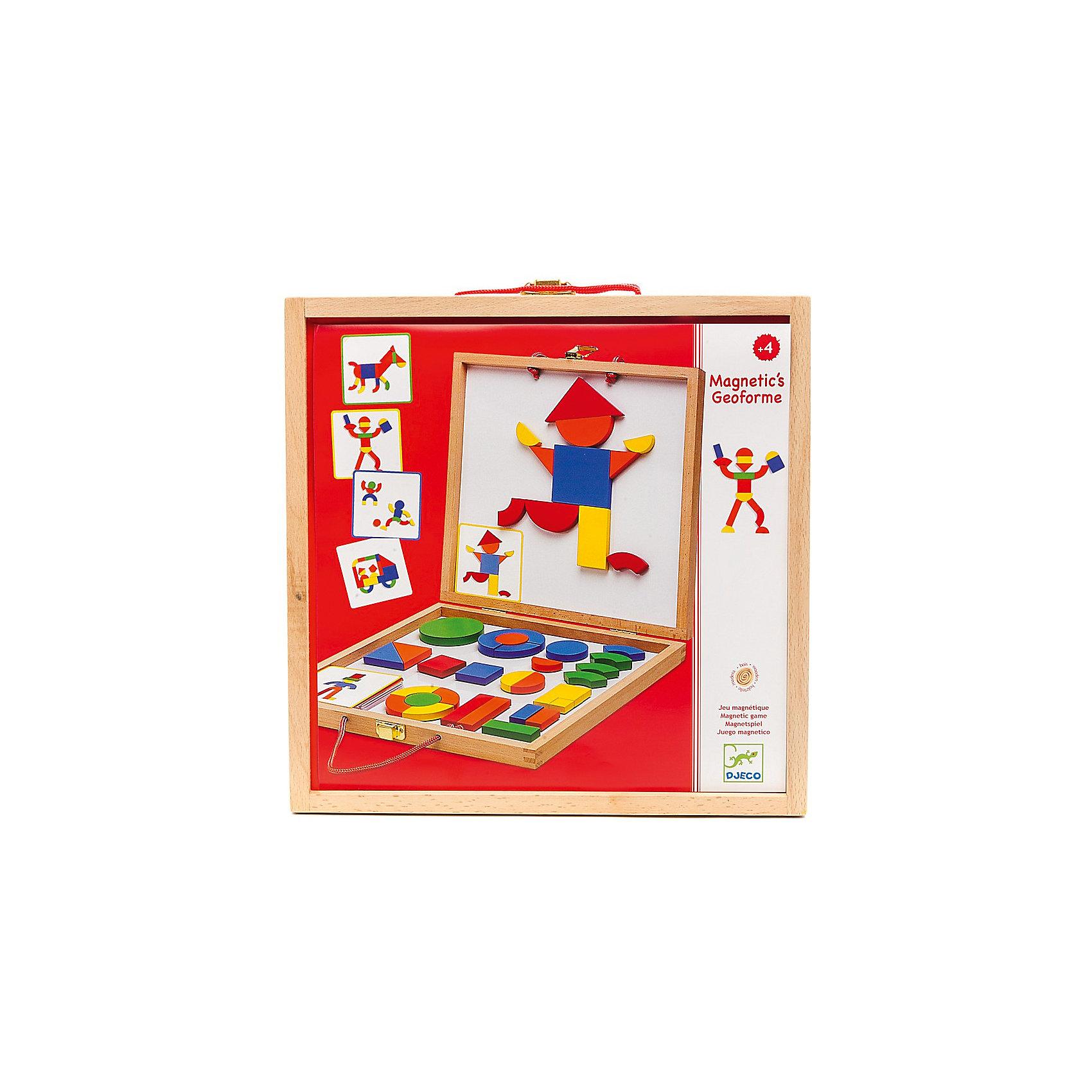 Развивающая магнитная игра Геоформ, DJECOРазвивающие игры<br>Магнитная доска с набором магнитных фигур Геоформ - это удивительная игрушка, разработанная компанией Djeco для создания разнообразных персонажей и красочных фигур. Играя с деревянными деталями, дети могут складывать различные фигурки, менять их местами и создавать целые картины при помощи магнитов. Геоформ станет красивым и полезным подарком для ребенка. Доска - двусторонняя, представляет собой складывающийся деревянный чемоданчик. Внутри набора находятся металлическое поле и деревянные фигуры на магнитах. Детям будет интересно перебирать фигурки разных форм и цветов. Все детали хорошо крепятся к поверхности доски при помощи магнитов. В компактном деревянном чемоданчике можно хранить все детали, у него удобные ручки, поэтому, его можно брать с собой. Игра знакомит ребенка с формами и цветами, развивает фантазию и наглядно-образное мышление, мелкую моторику и координацию ребенка.  <br><br>Дополнительная информация:<br><br>- Материал: картон, дерево, магнит.<br>- Размер чемоданчика: 30х30х4 см. <br>- Комплектация: 42 деревянные детали, 24 карточки с примерами.<br><br>Развивающую магнитную игру Геоформ, DJECO (Джеко), можно купить в нашем магазине.<br><br>Ширина мм: 300<br>Глубина мм: 300<br>Высота мм: 45<br>Вес г: 275<br>Возраст от месяцев: 36<br>Возраст до месяцев: 84<br>Пол: Унисекс<br>Возраст: Детский<br>SKU: 4051887