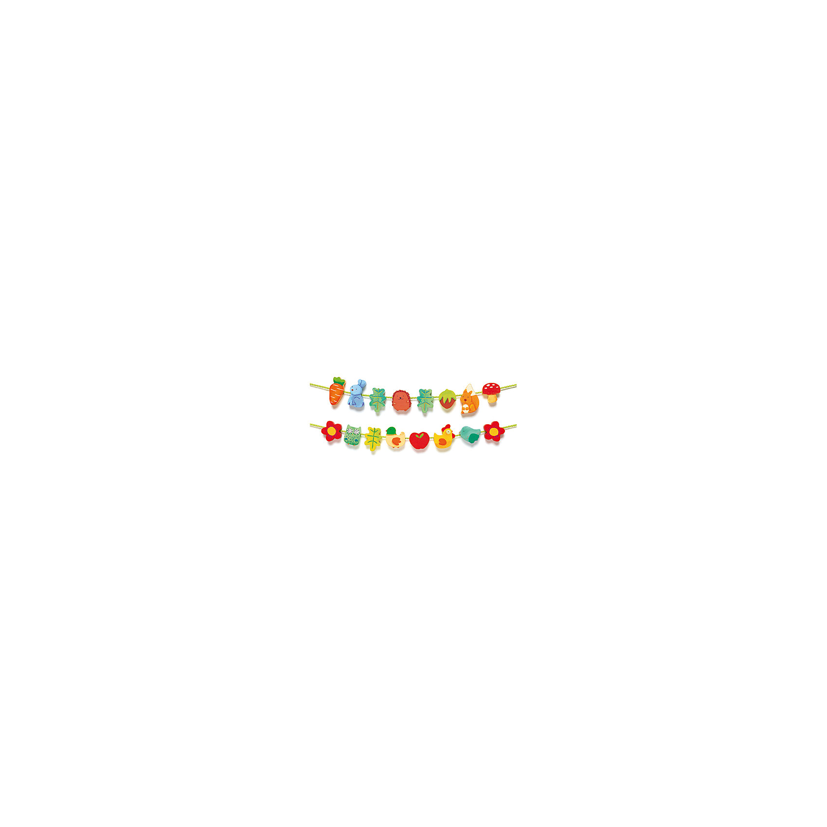 Шнуровка – бусы «Сад» , DJECOРазвивающие игры<br>Разноцветная и невероятно приятная на ощупь шнуровка способствует развитию мелкой моторики малышей, а также в игровой форме знакомит ребенка с забавными животными. Малыш будет с удовольствием нанизывать яркие, разные по форме «бусины», и каждый раз у него будут получаться новые бусы. Это увлекательное занятие развивает в ребенке чувство прекрасного, понимание пропорций, начальное знание цветов. Каждая бусинка ярко раскрашена, идеально обработана, имеет удобный для детских рук размер, не имеет острых углов. Шнуровка – бусы «Сад» изготовлена из  безопасных, экологически чистых материалов. <br><br>Дополнительная информация:<br><br>- Материал: дерево, текстиль.<br>- Размер упаковки: 28х12х2,5 см.<br>- В комплекте: 18 деревянных деталей, 2 шнурка.<br><br>Шнуровку – бусы «Сад» , DJECO (Джеко), можно купить в нашем магазине.<br><br>Ширина мм: 280<br>Глубина мм: 120<br>Высота мм: 30<br>Вес г: 250<br>Возраст от месяцев: 24<br>Возраст до месяцев: 48<br>Пол: Унисекс<br>Возраст: Детский<br>SKU: 4051888