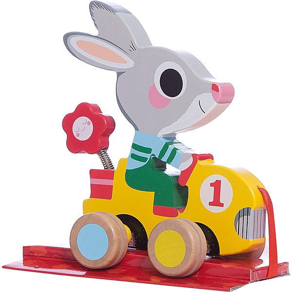 Каталка «Заяц» , DJECOДеревянные игрушки<br>Детская каталка в виде чудесного зайчика на машине – необходимая игрушка для ребенка, который делает свои первые шаги. Зайца можно просто покатать или повозить  за веревочку. Веселый зайчик станет незаменимым помощником  и другом на первых самостоятельных прогулках вашего малыша. Игрушка выполнена из натурального дерева, не имеет острых углов и мелких деталей, раскрашена экологически чистыми красками на водной основе. Безопасна для детей. <br><br>Дополнительная информация:<br><br>- Материал: дерево, текстиль, резина.<br>- Размер: 13х16х10 см.<br>- Колеса имеют резиновые накладки.<br><br>Каталку «Заяц» , DJECO (Джеко), можно купить в нашем магазине.<br><br>Ширина мм: 150<br>Глубина мм: 170<br>Высота мм: 80<br>Вес г: 450<br>Возраст от месяцев: 18<br>Возраст до месяцев: 36<br>Пол: Унисекс<br>Возраст: Детский<br>SKU: 4051890