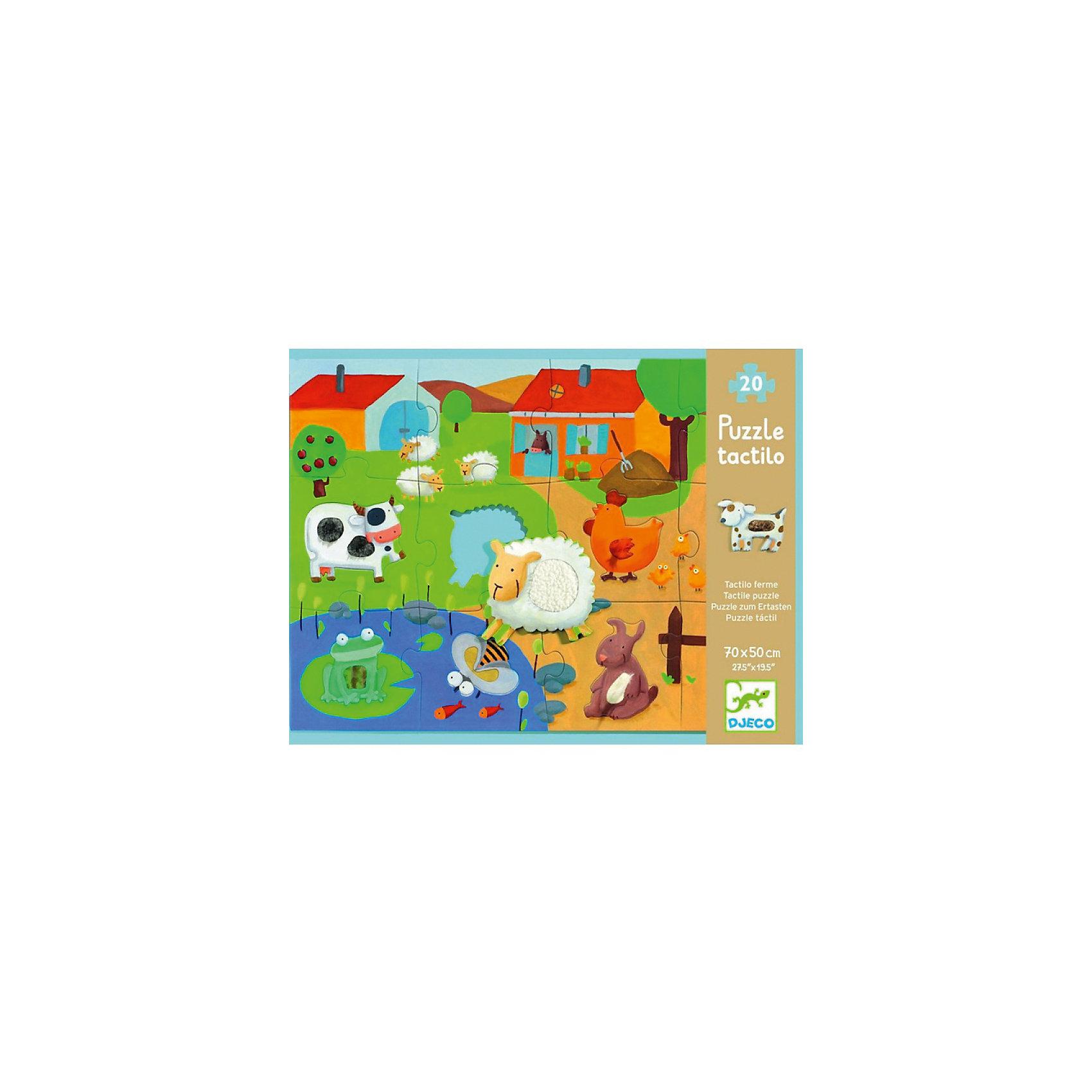Пазл-гигант тактильный Ферма, 20 деталей, DJECOПазлы для малышей<br>Пазл-гигант тактильный «Ферма» от французской компании Djeco - оригинальная игрушка исключительного качества и дизайна, направленная на всестороннее развитие ребенка. Игра с пазлом развивает моторику, мышление, цветовосприятие и фантазию малышей. В комплект входит 20 больших деталей из плотного трехслойного картона. Детям предстоит собрать вместе все пазлы, чтобы в результате получилась красивая большая картинка с изображением забавной фермы. Детали, на которых изображены животные, имеют вставки из различных текстур, поэтому малышам будет особенно интересно изучать новых животных, используя также и тактильные навыки.<br><br>Дополнительная информация:<br><br>- Материал: картон.<br>- Размер готовой картины: 50х70 см.<br><br>Пазл-гигант тактильный Ферма, 20 деталей, DJECO (Джеко), можно купить в нашем магазине.<br><br>Ширина мм: 330<br>Глубина мм: 255<br>Высота мм: 60<br>Вес г: 350<br>Возраст от месяцев: 36<br>Возраст до месяцев: 72<br>Пол: Унисекс<br>Возраст: Детский<br>SKU: 4051896
