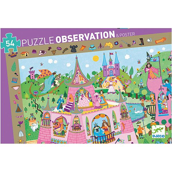 Пазл и игра на наблюдательность Принцессы, 54 детали, DJECOПазлы для малышей<br>Пазл и игра на наблюдательность Принцессы обязательно заинтересует детей. Суть игры: по краю поля изображены мелкие детали, которые также присутствуют внутри пазла. Нужно собрать пазл и найти как можно больше этих мелких деталей в пазле. Все детали выполнены из плотного высококачественного картона, имеют размер идеально подходящий для маленьких детских ручек. Игра с пазлом развивает моторику, мышление, цветовосприятие и фантазию малышей.<br><br>Дополнительная информация:<br><br>- Материал: картон.<br>- Размер готовой картины: 61х38 см.<br><br>Пазл и игра на наблюдательность Принцессы, 54 детали, DJECO (Джеко), можно купить в нашем магазине.<br>Ширина мм: 340; Глубина мм: 230; Высота мм: 50; Вес г: 350; Возраст от месяцев: 48; Возраст до месяцев: 96; Пол: Унисекс; Возраст: Детский; SKU: 4051898;