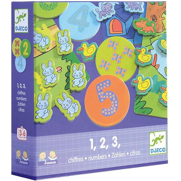Игра Eduludo: Цифры, DJECOПособия для обучения счёту<br>Игра Eduludo: Цифры поможет детям в интересной и увлекательно форме познакомиться с цифрами и освоить первоначальные навыки счета. Возможны 4 варианта игры – игра на память (найти соответствия), игра на наблюдательность, игра на ассоциации, игра на счет. <br><br>Дополнительная информация:<br><br>- Материал: картон, пластик.<br>- Размер упаковки: 22х22х5,5 см.<br>- Комплектация: 4 карточки, 10 кружков с рисунками, 10 кружков с числами, 55 героев (коты, утки, собаки, зайцы), кубик, инструкция.<br><br>Игру Eduludo: Цифры, DJECO (Джеко), можно купить в нашем магазине.<br><br>Ширина мм: 215<br>Глубина мм: 215<br>Высота мм: 50<br>Вес г: 275<br>Возраст от месяцев: 36<br>Возраст до месяцев: 72<br>Пол: Унисекс<br>Возраст: Детский<br>SKU: 4051901