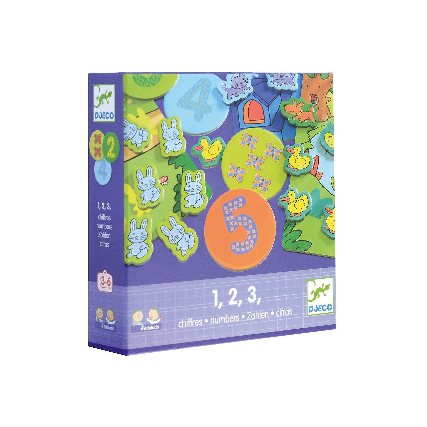 Игра Eduludo: Цифры, DJECOИгра Eduludo: Цифры поможет детям в интересной и увлекательно форме познакомиться с цифрами и освоить первоначальные навыки счета. Возможны 4 варианта игры – игра на память (найти соответствия), игра на наблюдательность, игра на ассоциации, игра на счет. <br><br>Дополнительная информация:<br><br>- Материал: картон, пластик.<br>- Размер упаковки: 22х22х5,5 см.<br>- Комплектация: 4 карточки, 10 кружков с рисунками, 10 кружков с числами, 55 героев (коты, утки, собаки, зайцы), кубик, инструкция.<br><br>Игру Eduludo: Цифры, DJECO (Джеко), можно купить в нашем магазине.<br><br>Ширина мм: 215<br>Глубина мм: 215<br>Высота мм: 50<br>Вес г: 275<br>Возраст от месяцев: 36<br>Возраст до месяцев: 72<br>Пол: Унисекс<br>Возраст: Детский<br>SKU: 4051901