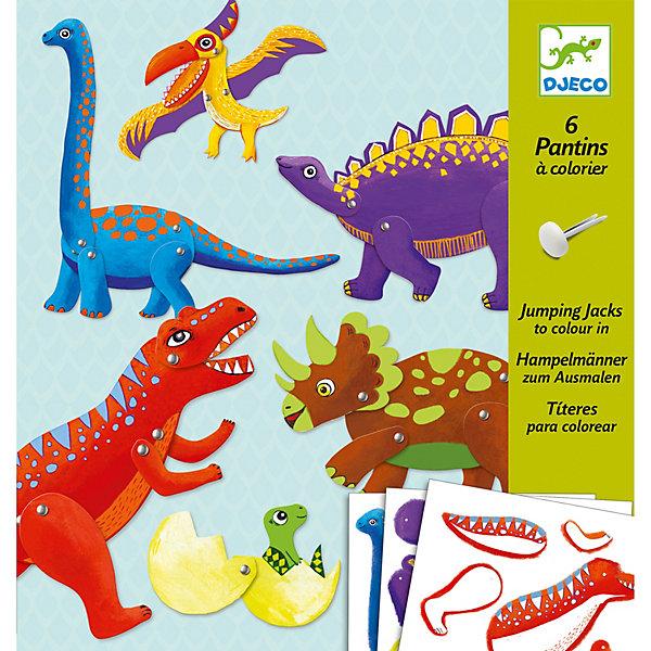 Набор куколок Динозавры , DJECOОкружающий мир<br>Набор Динозавры - оригинальный набор для детского творчества и увлекательная игра одновременно. Из разнообразных ярких деталей и разноцветных кнопок ваш ребенок с огромным удовольствием составит 6 фигурок динозавров. Лапы и крылья динозавров подвижные, что делает игру еще более динамичной и занимательной. Все детали соединяются без особых усилий, поэтому ребенок сможет самостоятельно собрать все фигурки. Если перед началом игры обвести все предлагаемые детали по контуру и перенести их на картон, у вас появятся заготовки для собственных оригинальных творений. Игра с набором, несомненно увлечет вашего ребенка и поможет ему развить творческие способности, внимание и мелкую моторику. <br><br>Дополнительная информация:<br><br>- Материал: картон, металл.<br>- Размер упаковки:  22х23 см.<br>- Комплектация: 34 детали для 6 фигурок, 6 палочек, 30 кнопок, инструкция.<br>- В комплекте: 6 фигурок.<br>- Размер фигурки: 30 см.<br><br>Набор куколок Динозавры , DJECO (Джеко), можно купить в нашем магазине.<br>Ширина мм: 220; Глубина мм: 230; Высота мм: 10; Вес г: 100; Возраст от месяцев: 60; Возраст до месяцев: 120; Пол: Унисекс; Возраст: Детский; SKU: 4051903;
