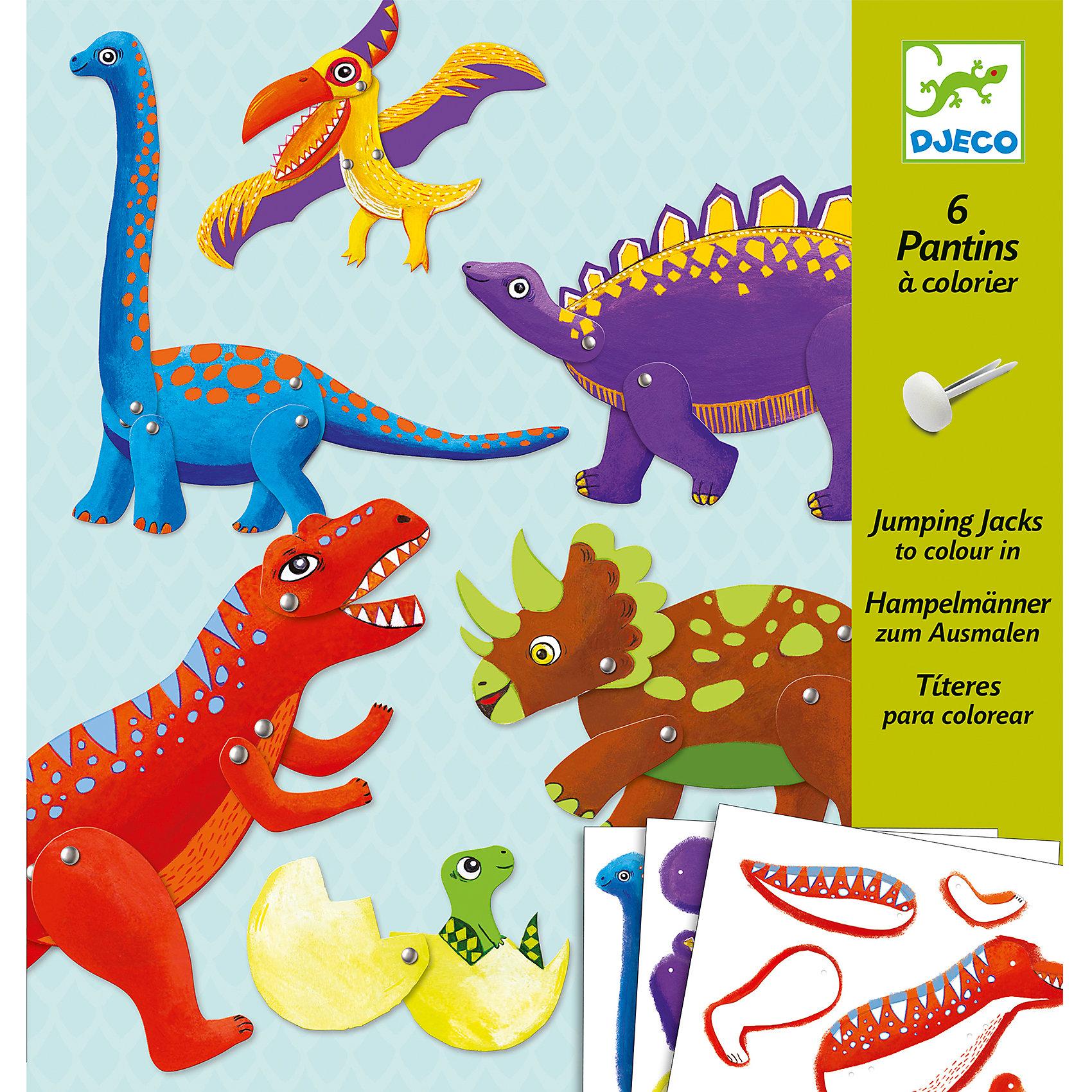 Набор куколок Динозавры , DJECOОкружающий мир<br>Набор Динозавры - оригинальный набор для детского творчества и увлекательная игра одновременно. Из разнообразных ярких деталей и разноцветных кнопок ваш ребенок с огромным удовольствием составит 6 фигурок динозавров. Лапы и крылья динозавров подвижные, что делает игру еще более динамичной и занимательной. Все детали соединяются без особых усилий, поэтому ребенок сможет самостоятельно собрать все фигурки. Если перед началом игры обвести все предлагаемые детали по контуру и перенести их на картон, у вас появятся заготовки для собственных оригинальных творений. Игра с набором, несомненно увлечет вашего ребенка и поможет ему развить творческие способности, внимание и мелкую моторику. <br><br>Дополнительная информация:<br><br>- Материал: картон, металл.<br>- Размер упаковки:  22х23 см.<br>- Комплектация: 34 детали для 6 фигурок, 6 палочек, 30 кнопок, инструкция.<br>- В комплекте: 6 фигурок.<br>- Размер фигурки: 30 см.<br><br>Набор куколок Динозавры , DJECO (Джеко), можно купить в нашем магазине.<br><br>Ширина мм: 220<br>Глубина мм: 230<br>Высота мм: 10<br>Вес г: 100<br>Возраст от месяцев: 60<br>Возраст до месяцев: 120<br>Пол: Унисекс<br>Возраст: Детский<br>SKU: 4051903