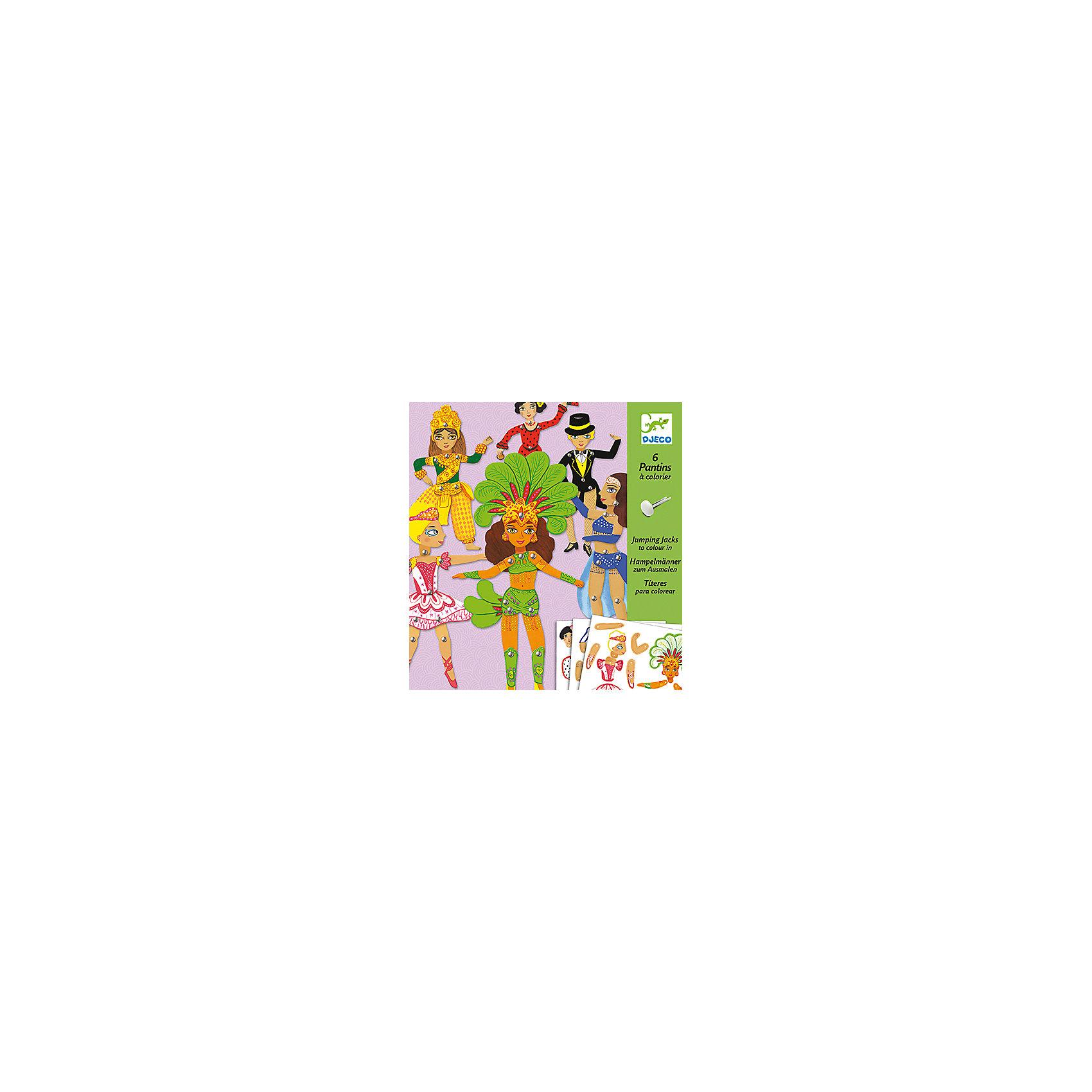Набор куколок Танцы , DJECOОкружающий мир<br>Набор куколок Танцы - оригинальный набор для детского творчества и увлекательная игра одновременно. Из разнообразных ярких деталей и разноцветных кнопок ваш ребенок с интересом составит 6 фигур танцовщиц в разных жанрах (бразильском, латиноамериканском, индийском). Ноги и руки кукол подвижные, что делает игру еще более динамичной и занимательной.  Все детали соединяются без особых усилий, поэтому ребенок сможет самостоятельно собрать все фигурки. Если перед началом игры обвести все предлагаемые детали по контуру и перенести их на картон, у вас появятся заготовки для собственных оригинальных творений. Игра с набором, несомненно увлечет вашего ребенка и поможет ему развить творческие способности, внимание и мелкую моторику. <br><br>Дополнительная информация:<br><br>- Материал: картон, металл.<br>- Размер упаковки:  22х23 см.<br>- Комплектация: 45 деталей для 6 кукол, 6 палочек, 30 кнопок, инструкция<br>- В комплекте: 6 фигурок.<br>- Размер фигурки: 30 см.<br><br>Набор куколок Танцы , DJECO (Джеко), можно купить в нашем магазине.<br><br>Ширина мм: 220<br>Глубина мм: 230<br>Высота мм: 10<br>Вес г: 100<br>Возраст от месяцев: 60<br>Возраст до месяцев: 120<br>Пол: Унисекс<br>Возраст: Детский<br>SKU: 4051904