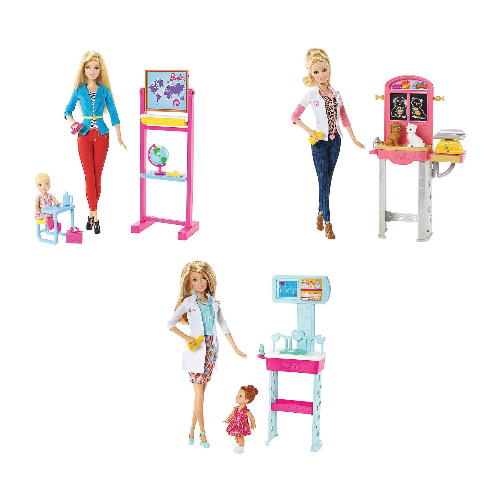 Игровой наборКем быть в ассортименте, BarbieПолные игровые наборы из серии «Кем быть» — возможность глубоко погрузиться в разные профессии! На выбор предлагаются учитель, врач и ветеринар (продаются по отдельности). В каждый набор входит одна кукла Барби, крупный аксессуар (например, школьная доска или стол для осмотра животных), мелкие аксессуары (например, стетоскоп или глобус) и ученик, пациент или животное. А кем ты хочешь стать, когда вырастешь? <br><br>Дополнительная информация:<br><br>- Материал: пластик.<br>- Размер упаковки: 21,5х6,5х32,5 см. <br>- Размер куклы: 29 см.<br>- Комплектация: кукла, большой аксессуар, аксессуары. <br>- Набор в ассортименте.<br>ВНИМАНИЕ! Данный артикул представлен в разных вариантах исполнения. К сожалению, заранее выбрать определенный вариант невозможно. При заказе нескольких наборов возможно получение одинаковых.<br><br>Игровые наборы из серии Кем быть?, Barbie (Барби), в ассортименте, можно купить в нашем магазине.<br><br>Ширина мм: 215<br>Глубина мм: 65<br>Высота мм: 325<br>Вес г: 473<br>Возраст от месяцев: 36<br>Возраст до месяцев: 96<br>Пол: Женский<br>Возраст: Детский<br>SKU: 4051922