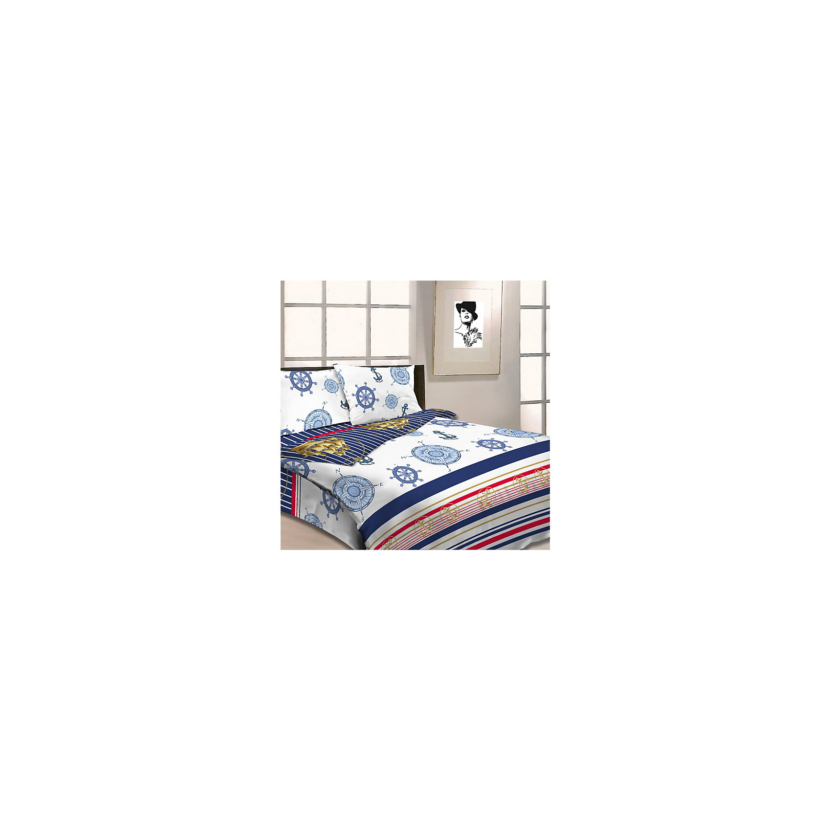 Letto Комплект Корабли 1,5-спальный (2 наволочки 70х70), Letto комплект белья letto дуэт семейный наволочки 70х70 цвет голубой b33 7