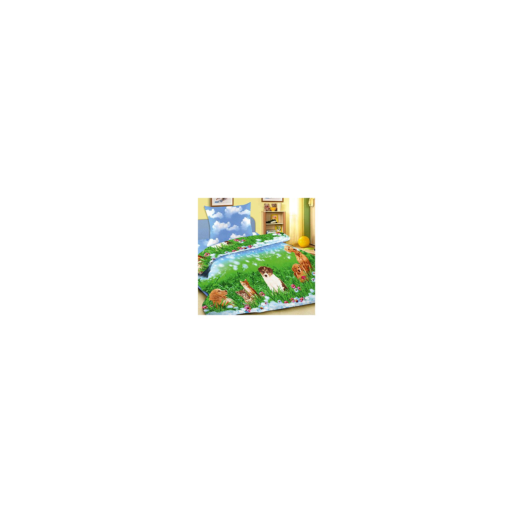 Комплект Верные друзья 1,5-спальный (наволочка 50х70см), LettoС комплектом постельного белья Верные друзья, Letto, Ваш ребенок с удовольствием будет укладываться в свою кроватку и видеть чудесные сказочные сны. Красочный комплект украшен изображениями очаровательных домашних питомцев - котят и собачек на фоне зеленого луга. Материал представляет собой плотный пакистанский хлопок полотняного плетения группы перкаль, очень комфортный и приятный на ощупь. Ткань отвечает всем экологическим нормам безопасности, дышащая, гипоаллергенная, не нарушает естественные процессы терморегуляции. При стирке белье не линяет, не деформируется и не теряет своих красок даже после многочисленных стирок.<br><br>Дополнительная информация:<br><br>- Размер комплекта: полутораспальный.<br>- Тип ткани: 100% хлопок.<br>- В комплекте: 1 наволочка, 1 пододеяльник, 1 простыня.<br>- Размер пододеяльника: 143 х 215 см.<br>- Размер наволочки: 50 х 70 см.<br>- Размер простыни: 150 х 220 см.<br>- Размер упаковки: 39 х 4 х 28 см.<br>- Вес: 1,4 кг. <br><br>Комплект Верные друзья 1,5 спальный, Letto, можно приобрести в нашем интернет-магазине.<br><br>Ширина мм: 390<br>Глубина мм: 280<br>Высота мм: 40<br>Вес г: 1400<br>Возраст от месяцев: 36<br>Возраст до месяцев: 120<br>Пол: Унисекс<br>Возраст: Детский<br>SKU: 4053104