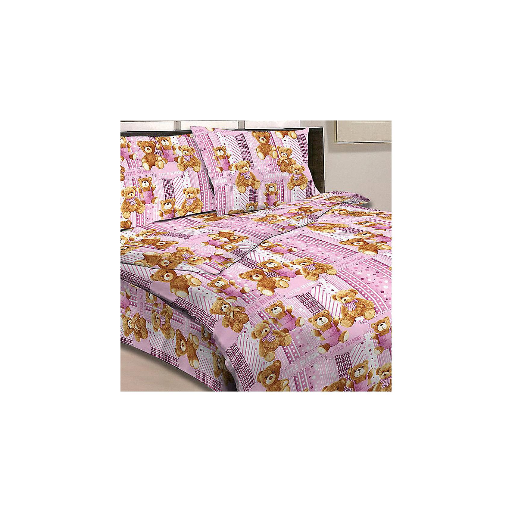 Letto Розовый комплект Мишки 1,5-спальный (наволочка 50х70см), Letto комплект сакура розовый размер 1 5 спальный