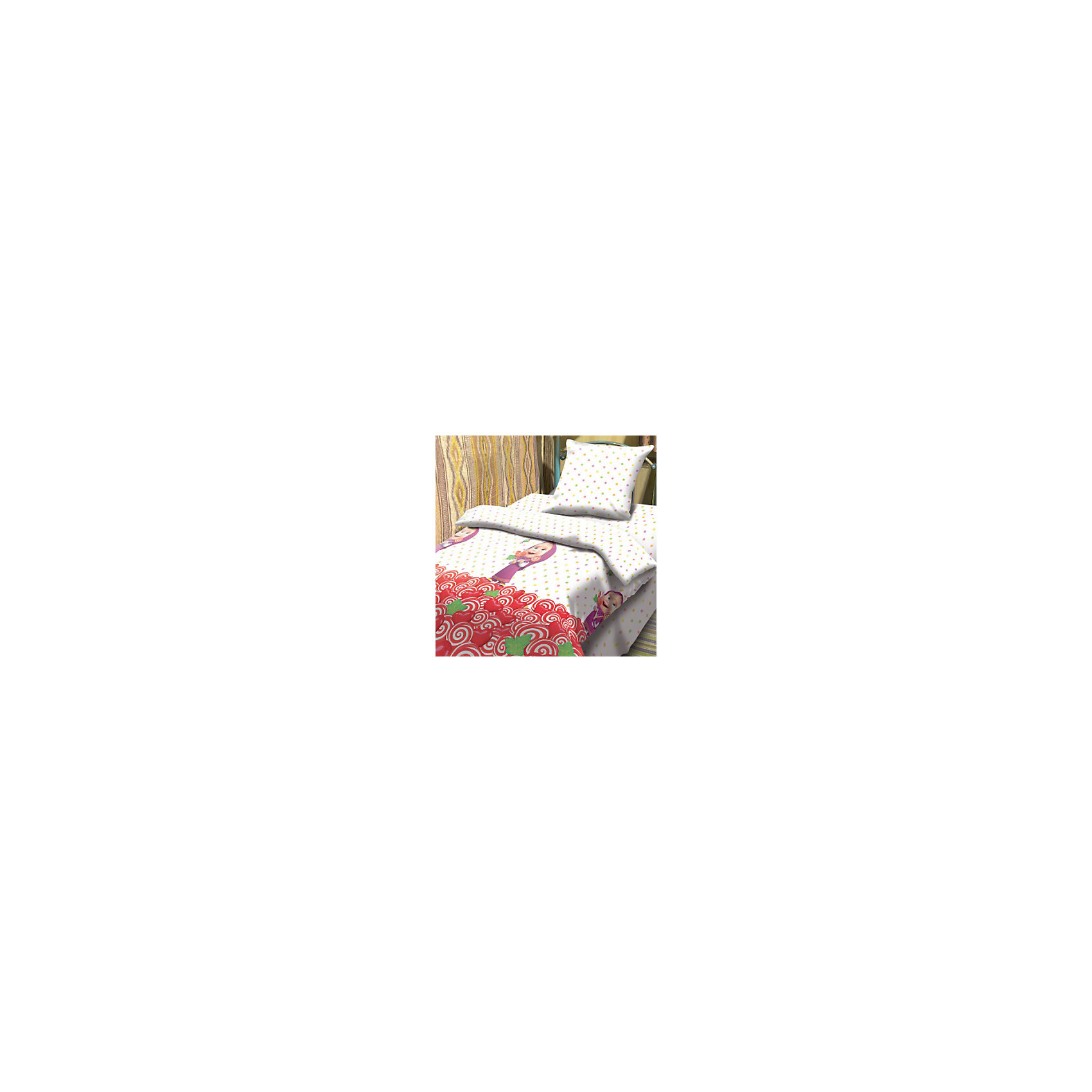 Детский комплект Сластена, Маша и МедведьС комплектом постельного белья Сластена, Маша и Медведь, Ваша девочка с удовольствием будет укладываться в свою кроватку и видеть чудесные сказочные сны. Красочный комплект из качественной плотной бязи украшен изображениями веселой девочки Маши, героини популярного мультсериала Маша и Медведь. Материал представляет собой качественную плотную бязь, очень комфортную и приятную на ощупь. Ткань отвечает всем экологическим нормам безопасности, дышащая, гипоаллергенная, не нарушает естественные процессы терморегуляции. При стирке белье не линяет, не деформируется и не теряет своих красок даже после многочисленных стирок.<br><br>Дополнительная информация:<br><br>- Цвет: белый с рисунком.<br>- Тип ткани: Бязь (100% хлопок).<br>- В комплекте: 1 наволочка, 1 пододеяльник и 1 простыня.<br>- Размер пододеяльника: 147 х 112 см.<br>- Размер наволочки: 40 х 60 см.<br>- Размер простыни: 150 х 110 см.<br>- Размер упаковки: 25 х 7 х 35 см.<br>- Вес: 0,8 кг. <br><br>Детский комплект Сластена, Маша и Медведь, можно приобрести в нашем интернет-магазине.<br><br>Ширина мм: 250<br>Глубина мм: 350<br>Высота мм: 70<br>Вес г: 800<br>Возраст от месяцев: 0<br>Возраст до месяцев: 60<br>Пол: Женский<br>Возраст: Детский<br>SKU: 4053615