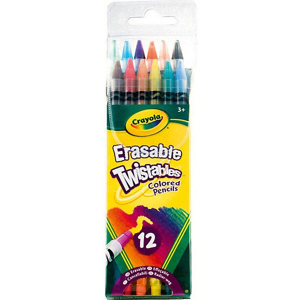 Набор выкручивающихся карандашей, 12 шт., CrayolaЦветные<br>Набор из 12 выкручивающихся карандашей с ластиками от Crayola (Крайола) помогут ребенку научиться рисовать и сделать свои рисунки аккуратнее. <br>Нередко карандаши ломаются и портятся, когда дети самостоятельно пытаются их подточить. С этими карандашами от Crayola (Крайола) подобного не произойдет, ведь они всегда подточены. Просто немного подкрутите карандаш, и вы сможете снова рисовать линии нужной толщины. <br>На конце каждого карандаша есть качественный ластик, позволяющий бесследно стереть нарисованное, не портя при этом бумагу. Теперь рисунки будут максимально аккуратными.<br><br>Дополнительная информация:<br><br>В наборе 12 карандашей разных цветов в пластиковых корпусах. <br>Размеры упаковки: 21х6,2х2 см. <br>Вес набора: 119 грамм.<br><br>Набор выкручивающихся карандашей, 12 шт., Crayola можно купить в нашем магазине.<br>Ширина мм: 210; Глубина мм: 62; Высота мм: 20; Вес г: 119; Возраст от месяцев: 72; Возраст до месяцев: 168; Пол: Унисекс; Возраст: Детский; SKU: 4055300;