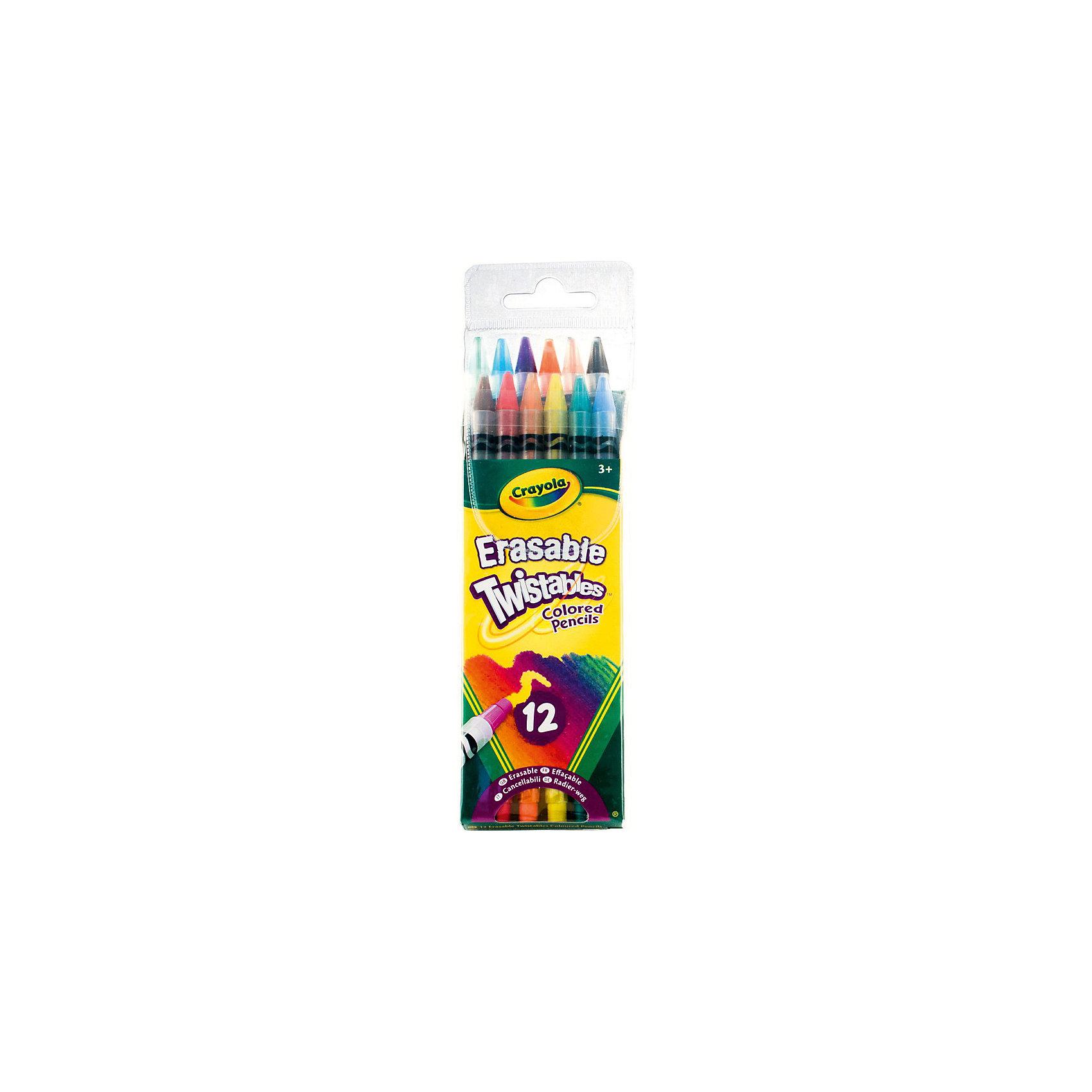 Набор выкручивающихся карандашей, 12 шт., CrayolaНабор из 12 выкручивающихся карандашей с ластиками от Crayola (Крайола) помогут ребенку научиться рисовать и сделать свои рисунки аккуратнее. <br>Нередко карандаши ломаются и портятся, когда дети самостоятельно пытаются их подточить. С этими карандашами от Crayola (Крайола) подобного не произойдет, ведь они всегда подточены. Просто немного подкрутите карандаш, и вы сможете снова рисовать линии нужной толщины. <br>На конце каждого карандаша есть качественный ластик, позволяющий бесследно стереть нарисованное, не портя при этом бумагу. Теперь рисунки будут максимально аккуратными.<br><br>Дополнительная информация:<br><br>В наборе 12 карандашей разных цветов в пластиковых корпусах. <br>Размеры упаковки: 21х6,2х2 см. <br>Вес набора: 119 грамм.<br><br>Набор выкручивающихся карандашей, 12 шт., Crayola можно купить в нашем магазине.<br><br>Ширина мм: 210<br>Глубина мм: 62<br>Высота мм: 20<br>Вес г: 119<br>Возраст от месяцев: 72<br>Возраст до месяцев: 168<br>Пол: Унисекс<br>Возраст: Детский<br>SKU: 4055300