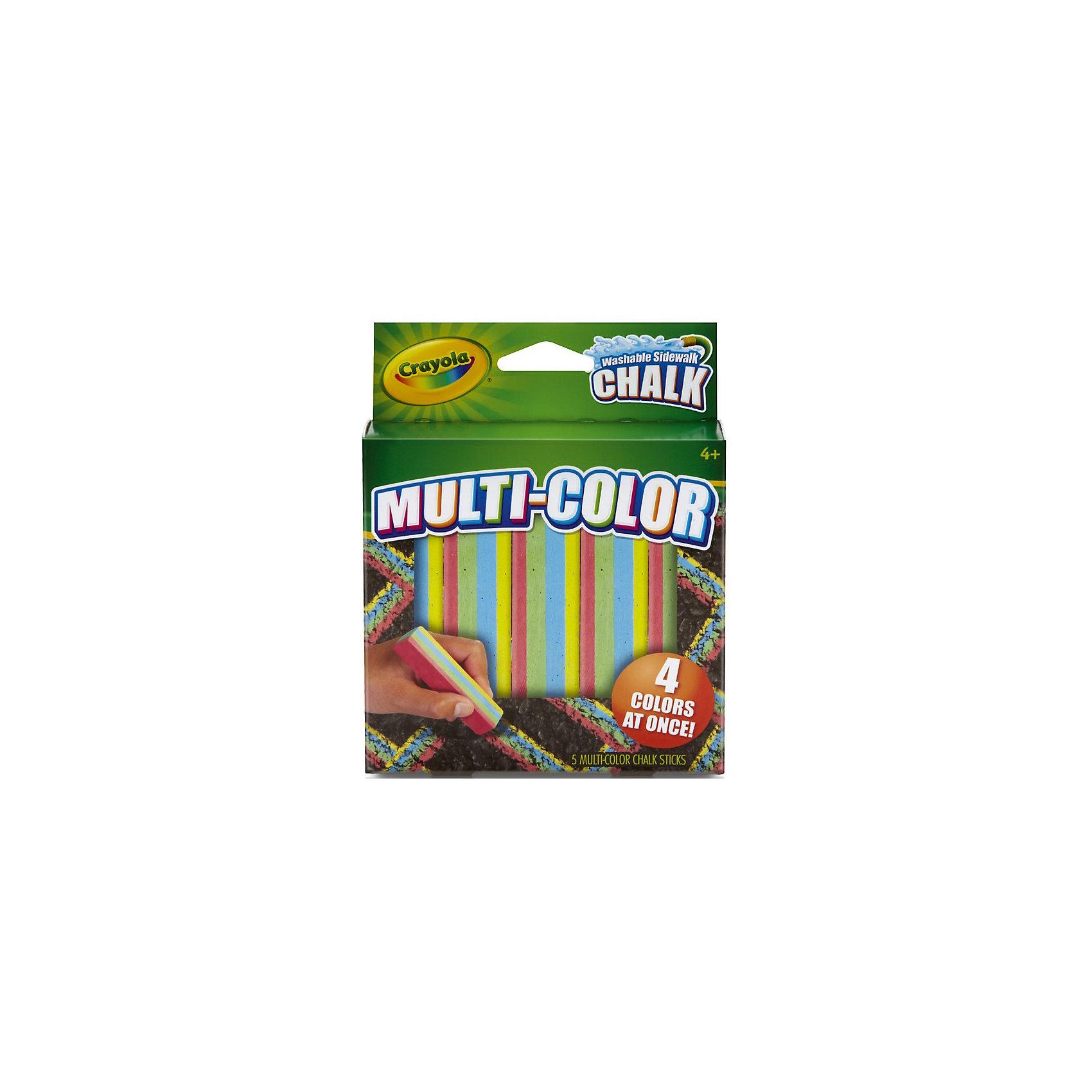 Мел для асфальта многоцветный, 5 цв., CrayolaСоздавай уникальные шедевры прямо на асфальте с новыми мелками Crayola (Крайола)! <br><br>Эксклюзивные мелки Crayola (Крайола) сочетают сразу 4 цвета в одном кусочке. Рисуй одновременно зелёным, жёлтым, синим и розовым цветом! Качественными мелками легко создать яркий неповторимый рисунок. В коробке 5 четырёхцветных прочных мелков высокого качества. Они не расколются и не поломаются при случайном падении или от сильного нажима.  <br><br>Создавая новые картины на асфальте, ребёнок развивает свои творческие навыки и воображение. Нарисуй радугу одним движением руки!<br><br>Мел для асфальта многоцветный, 5 цв., Crayola (Крайола) можно купить в нашем магазине.<br><br>Ширина мм: 250<br>Глубина мм: 140<br>Высота мм: 100<br>Вес г: 230<br>Возраст от месяцев: 48<br>Возраст до месяцев: 144<br>Пол: Унисекс<br>Возраст: Детский<br>SKU: 4055305