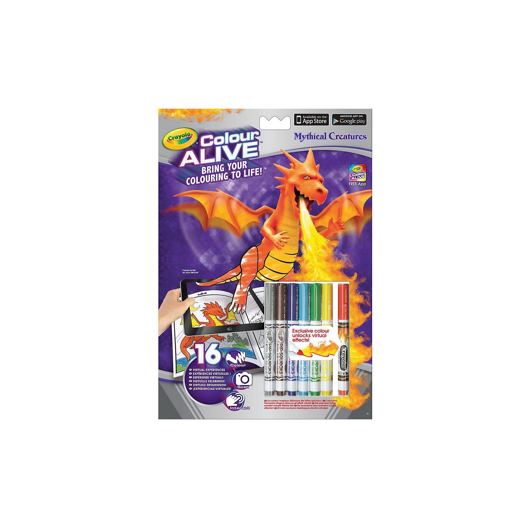 Интерактивная раскраска Colour Alive Драконы, CrayolaРаскраски<br>Вдохни жизнь в свои рисунки вместе с новыми уникальными интерактивными книжками-раскрасками от Crayola (Крайола)!  <br><br>Как и обычная раскраска, интерактивная книжка-раскраска «Зачарованный лес» начинается с обычного листа бумаги. Создай уникальный дизайн персонажа на картинке, затем используй специальный карандаш, который разблокирует виртуальные эффекты в бесплатном приложении Color Alive на своём мобильном устройстве на базе Android или IOS, и чудесные герои зачарованного леса оживут! Теперь ты сможешь сфотографироваться вместе со своим творением или снять небольшое видео. Ведь каждый персонаж на одной из 16 страниц раскраски обладает своей уникальной анимацией и звуковыми эффектами. <br><br>Дополнительная информация:<br><br>В комплекте к интерактивной книжке-раскраске «Зачарованный лес», включающей 16 страниц, есть 6 цветных карандашей Crayola (Крайола) и один специальный карандаш Pixie Dust, который разблокирует виртуальные эффекты в приложении Color Alive.  <br><br>Удобные карандаши Crayola (Крайола) легко держать в руке, они созданы из экологически чистых материалов и безвредны для малыша. С помощью книжки-раскраски ребёнок развивает своё воображение и творческие навыки, а также тренирует мелкую моторику рук.<br><br>Интерактивную раскраску Colour Alive Драконы, Crayola (Крайола) можно купить в нашем магазине.<br><br>Ширина мм: 202<br>Глубина мм: 295<br>Высота мм: 10<br>Вес г: 140<br>Возраст от месяцев: 36<br>Возраст до месяцев: 108<br>Пол: Мужской<br>Возраст: Детский<br>SKU: 4055307