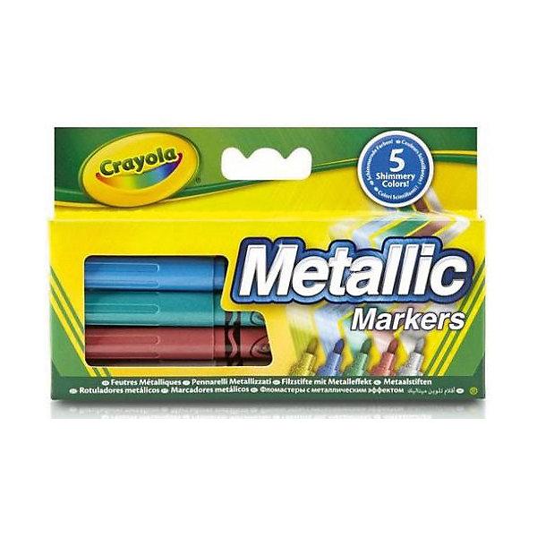 Набор фломастеров Металлик, CrayolaФломастеры<br>Каждый ребёнок любит рисовать! А с превосходным набором фломастеров «Металлик» от Crayola (Крайола) создавать шедевры одно удовольствие!  <br><br>Создай свой шедевр, цвета которого будут переливаться в зависимости от угла обзора и преломления света! Уникальные маркеры Crayola (Крайола) безопасны для детей, ведь они выполнены из экологически чистых материалов и легко смываются как с рук, так и с одежды ребёнка. Благодаря уникальной технологии, чернила маркеров долго не высыхают, они выдерживают даже сильный нажим, не ломаясь и не вдавливаясь.  <br><br>Дополнительная информация:<br><br>В комплекте 5 качественных маркеров различных цветов с эффектом металлик. В наборе бронзовый, серебряный, фиолетовый, голубой и зелёный фломастеры.<br><br>Создавая новые шедевры на бумаге или холсте, ребёнок развивает свои творческие навыки и воображение.<br><br>Набор фломастеров Металлик, Crayola (Крайола) можно купить в нашем магазине.<br><br>Ширина мм: 150<br>Глубина мм: 15<br>Высота мм: 95<br>Вес г: 60<br>Возраст от месяцев: 36<br>Возраст до месяцев: 108<br>Пол: Унисекс<br>Возраст: Детский<br>SKU: 4055309