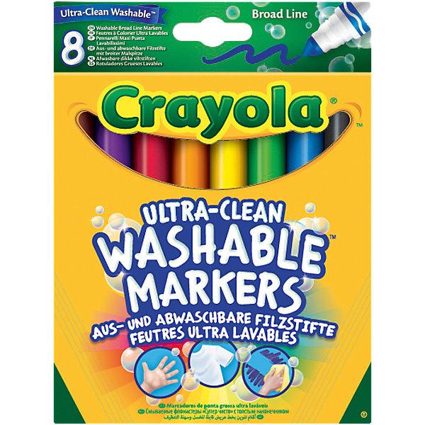 Набор смываемых фломастеров с толстым наконечником Супер чисто, 8 шт., CrayolaФломастеры<br>Каждый ребёнок обожает рисовать! А с новыми смываемыми фломастерами Crayola (Крайола) создавать шедевры одно удовольствие!  <br><br>В картонной коробке 8 разноцветных фломастеров. Они выполнены из качественных экологически чистых материалов. Созданные на основе растительных красителей, фломастеры Crayola (Крайола) легко смываются как с рук, так и с одежды ребёнка. Удобная форма и яркие насыщенные цвета являются ещё одним неоспоримым преимуществом этих чудесных фломастеров.  <br><br>Создавай новые шедевры на листе бумаге или ваших любимых обоях, малыш совершенствует творческие навыки, оттачивая мастерство мелкой моторики рук. Не нужно бояться разукрашенных стен, ведь превосходный рисунок вашего чада легко отмыть обычной водой!<br><br>Набор смываемых фломастеров с толстым наконечником Супер чисто, 8 шт., Crayola можно купить в нашем магазине.<br><br>Ширина мм: 171<br>Глубина мм: 129<br>Высота мм: 17<br>Вес г: 111<br>Возраст от месяцев: 36<br>Возраст до месяцев: 72<br>Пол: Унисекс<br>Возраст: Детский<br>SKU: 4055310