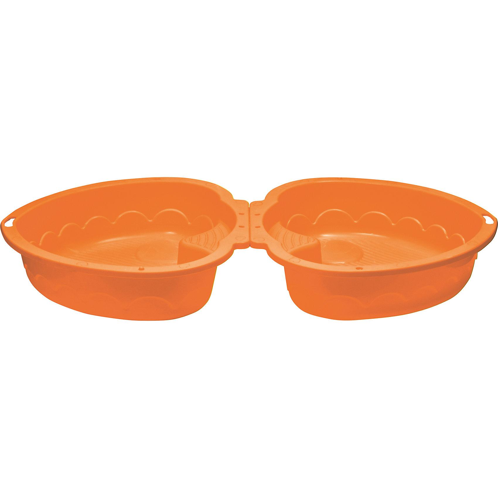Двойная песочница Сердечко, оранжевая, MarianplastИграем в песочнице<br>Marian Plast Песочница-бассейн Сердечко удобна как для игры на улице, так и в закрытом помещении (если наполнить ее специальными шариками – не входят в комплект).<br><br>Песочница состоит из 2-ух частей, что позволяет закрывать ее от дождя. Одну из частей песочницы можно использовать в качестве крышки, которая защитит песочницу от домашних животных, попадания песка и листьев. В песочнице есть 2 сиденья, и Ваш малыш сможет не только играть в песок, но и поплескаться в воде со своими друзьями. <br>Крепежи не идут в комплекте, так как не требуются.<br>Размеры песочницы Сердечко Marian Plast 435 позволяют перевезти ее на любом легковом автомобиле. <br><br>Дополнительная информация:<br>- Размеры: <br>высота бортиков 20 см,<br>в разложенном виде размер песочницы-бассейна 180х79х20 см, высота в сложенном виде - 40 см<br>- Вес - 3,2 кг;<br>- Песочница изготовлена из прочного, нетоксичного, гипоаллергенного пластика<br><br>Песочница - бассейн Сердечко MarianPlast (Марианпласт) отлично подойдет для летнего отдыха Вашего малыша на даче.<br><br>Ширина мм: 905<br>Глубина мм: 790<br>Высота мм: 400<br>Вес г: 3160<br>Возраст от месяцев: 144<br>Возраст до месяцев: 60<br>Пол: Унисекс<br>Возраст: Детский<br>SKU: 4055318