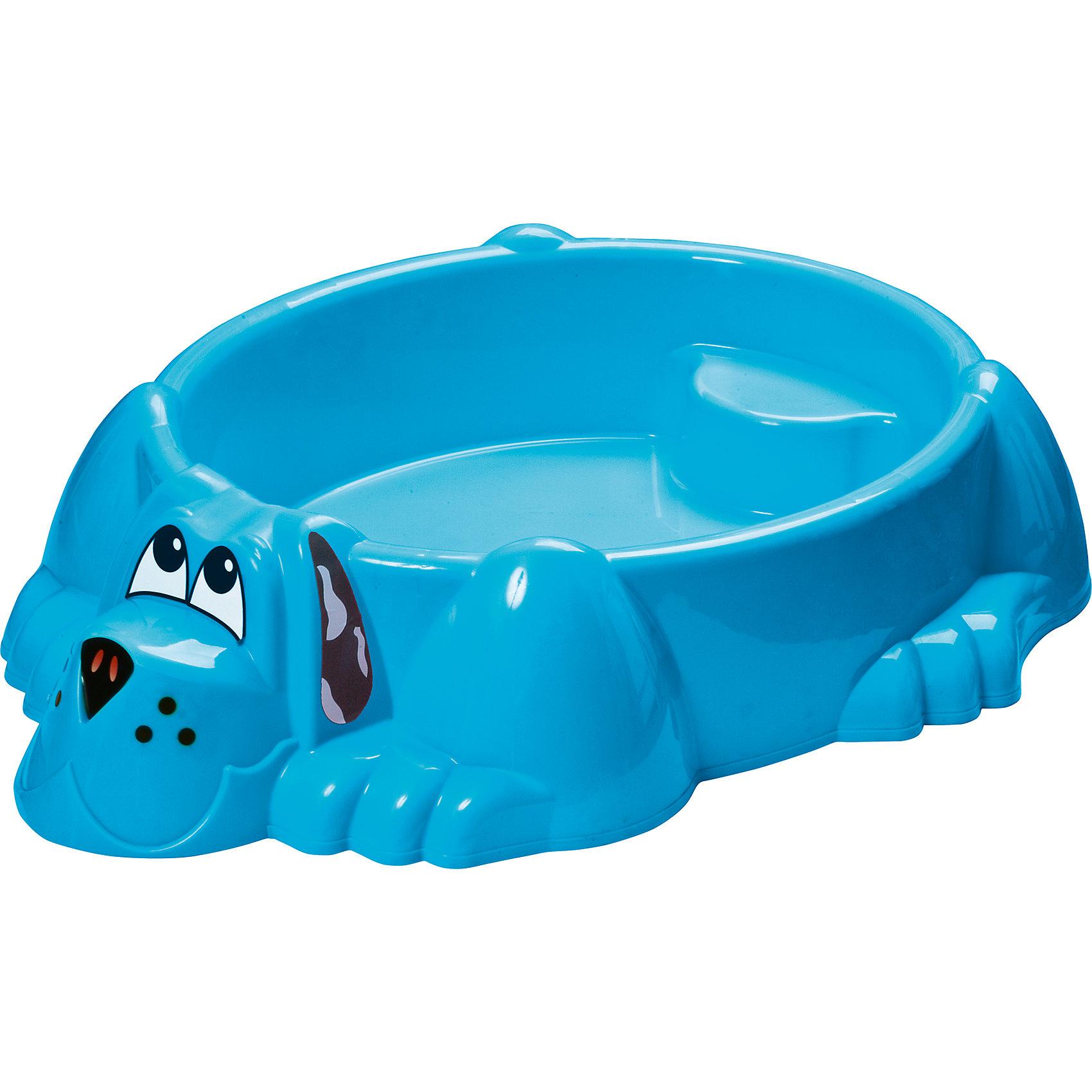 Бассейн-песочница Собачка, синий, Marian PlastИграем в песочнице<br>Песочница-бассейн Собачка Marianplast (Марианпласт) обязательно понравится Вашему малышу и станет его любимым местом для игр. Малыши очень любят игры в песке, куличики, а также игры с водой. Песочница Собачка совмещает в себе эти две игровые возможности, ее можно использовать и как песочницу и как минибассейн. Благодаря своим компактным<br>размерам песочницу подойдет как для игры на улице, на даче, так и в закрытом помещении.<br><br>Песочница-бассейн выполнена в виде забавного песика, внутри имеются фигурные выступы (в голове и хвосте собаки), на которые малыши смогут присесть и отдохнуть. В песочнице могут разместиться двое детей. Песочница округлой формы без острых углов, высота бортика - 25 см. В комплект также входят наклейки в виде глазок, носа и ушей собачки.<br><br>ВНИМАНИЕ! Товар поставляется в ассортименте. Цвета в ассортименте: голубой, зеленый, желтый. Выбрать цвет заранее нельзя!<br><br>Дополнительная информация:<br><br>- В комплекте: песочница-бассейн, наклейки (уши, нос, глаза собаки). <br>- Материал: высокопрочный морозостойкий пластик.<br>- Размер: 92 х 115 х 25 см.<br>- Вес: 4 кг.<br><br>Бассейн - Собачку от Marianplast (Марианпласт) можно купить в нашем интернет-магазине.<br><br>Ширина мм: 1150<br>Глубина мм: 920<br>Высота мм: 265<br>Вес г: 4040<br>Возраст от месяцев: 24<br>Возраст до месяцев: 96<br>Пол: Унисекс<br>Возраст: Детский<br>SKU: 4055320