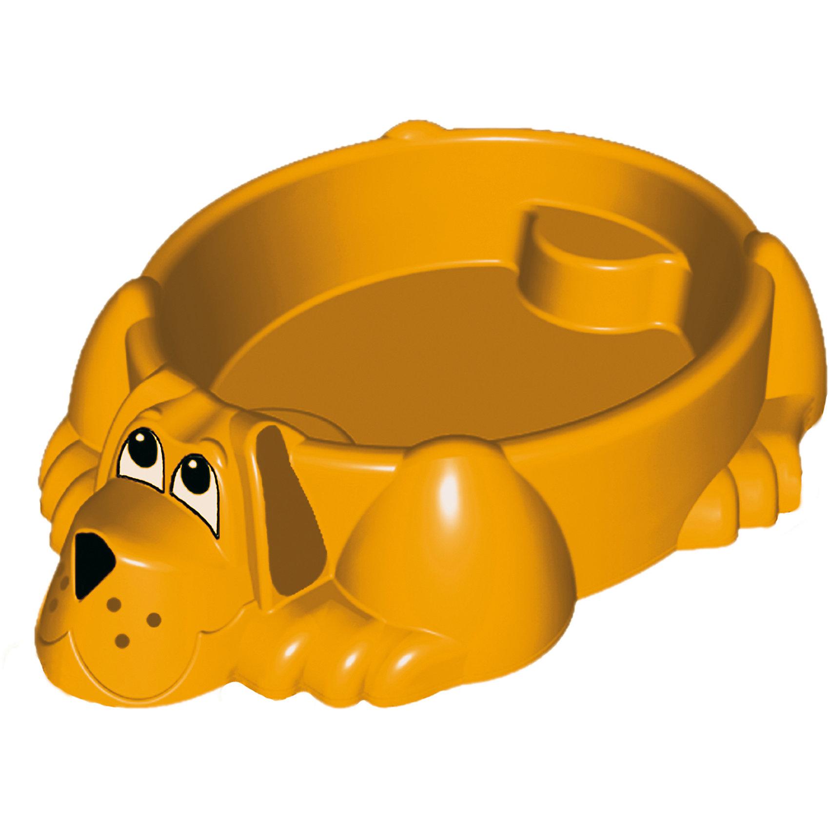 Бассейн-песочница Собачка, оранжевый, Marian PlastПесочница-бассейн Собачка Marianplast (Марианпласт) обязательно понравится Вашему малышу и станет его любимым местом для игр. Малыши очень любят игры в песке, куличики, а также игры с водой. Песочница Собачка совмещает в себе эти две игровые возможности, ее можно использовать и как песочницу и как минибассейн. Благодаря своим компактным<br>размерам песочницу подойдет как для игры на улице, на даче, так и в закрытом помещении.<br><br>Песочница-бассейн выполнена в виде забавного песика, внутри имеются фигурные выступы (в голове и хвосте собаки), на которые малыши смогут присесть и отдохнуть. В песочнице могут разместиться двое детей. Песочница округлой формы без острых углов, высота бортика - 25 см. В комплект также входят наклейки в виде глазок, носа и ушей собачки.<br><br>ВНИМАНИЕ! Товар поставляется в ассортименте. Цвета в ассортименте: голубой, зеленый, желтый. Выбрать цвет заранее нельзя!<br><br>Дополнительная информация:<br><br>- В комплекте: песочница-бассейн, наклейки (уши, нос, глаза собаки). <br>- Материал: высокопрочный морозостойкий пластик.<br>- Размер: 92 х 115 х 25 см.<br>- Вес: 4 кг.<br><br>Бассейн - Собачку от Marianplast (Марианпласт) можно купить в нашем интернет-магазине.<br><br>Ширина мм: 1150<br>Глубина мм: 920<br>Высота мм: 265<br>Вес г: 4040<br>Возраст от месяцев: 24<br>Возраст до месяцев: 96<br>Пол: Унисекс<br>Возраст: Детский<br>SKU: 4055321