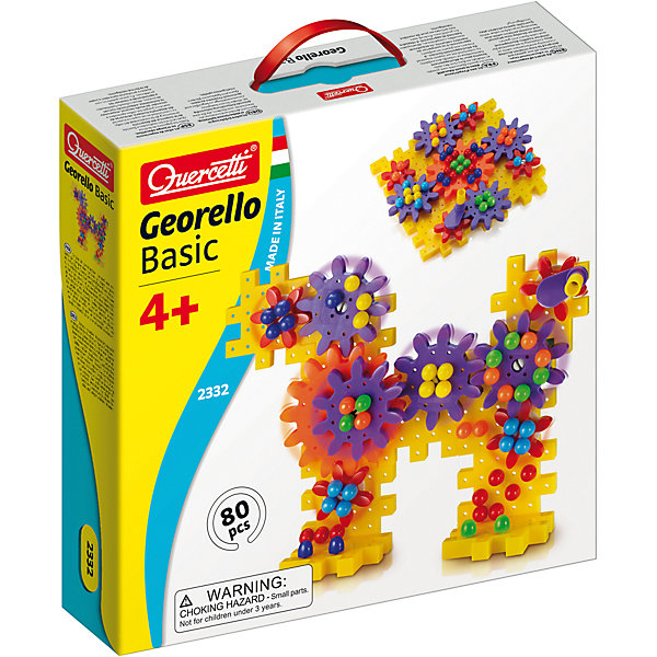 Конструктор Джиорелло, 80 деталей, QuercettiПластмассовые конструкторы<br>Конструктор Джиорелло, 80 деталей, Quercetti (Кверсетти) – это пропуск в мир неограниченного детского творчества!<br>Конструктор Джиорелло непременно порадует вашего малыша. Он содержит 80 элементов разного размера и формы. Конструктор дает возможность собрать свой собственный механизм, расположенный как в вертикальной, так и в горизонтальной плоскости. Соедините элементы так, как подскажет вам фантазия, закрепите рукоятку на большой шестеренке, и вы сможете привести в движение всю конструкцию! Одна шестеренка двигает другую, другая - третью, - и все это движется, вращаясь! Набор не содержит инструкций и предписаний и дает малышу неограниченные возможности проявить свое воображение. Игры с конструкторами помогут ребенку развить воображение, внимательность, пространственное мышление и творческие способности. Ваш малыш сможет часами играть с ним, конструируя оригинальные поделки. Все элементы конструктора выполнены из прочного безопасного пластика и имеют увеличенные размеры, специально для маленьких пальчиков малыша.<br><br>Дополнительная информация:<br><br>- В наборе: 10 элементов основы, большую шестеренку, 4 средних шестеренки, 4 маленьких шестеренки, 48 пуговиц, 14 белых направляющих элементов, рукоятка<br>- Размер элемента основы: 85 х 85 мм.<br>- Размер большей шестеренки: 115 х 115 мм.<br>- Размер средней шестеренки: 85 х 85 мм.<br>- Размер малой шестеренки: 60 х 60 мм.<br>- Диаметр пуговицы: 15 мм.<br>- Материал: пластик<br>- Размер упаковки: 290x290x70 мм.<br><br>Конструктор Джиорелло, 80 деталей, Quercetti (Кверсетти) можно купить в нашем интернет-магазине.<br>Ширина мм: 290; Глубина мм: 290; Высота мм: 70; Вес г: 817; Возраст от месяцев: 36; Возраст до месяцев: 96; Пол: Унисекс; Возраст: Детский; SKU: 4057276;