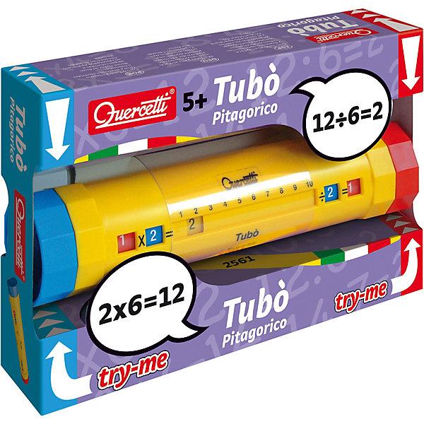 Тубус Пифагора для изучения таблицы умножения, QuercettiПособия для обучения счёту<br>Тубус Пифагора для изучения таблицы умножения, Quercetti (Кверсетти) – это развивающая игра, помогающая ребенку решать несложные примеры.<br>Тубус Пифагора Quercetti поможет вашему ребенку в веселой игровой форме освоить навыки деления и умножения чисел и проверить свои знания по математике. Одна его часть предназначена для умножения чисел, другая - для деления. Для того, чтобы решить задачу, необходимо, поворачивая красную и синюю часть тубуса, выбрать два числа и результат готов. Тубус изготовлен из прочной пластмассы, его удобно держать в руках, а яркая расцветка добавит к обучению хорошее настроение. В процессе игры формируется наблюдательность, смекалка и внимание, происходит знакомство с таблицей умножения, развивается глазомер и координация, слаженность и точность движений.<br><br>Дополнительная информация:<br><br>- Материал: пластик<br>- Размер тубуса: 21х4,5 см. <br>- Размер упаковки: 21х5х14 см. <br>- Вес упаковки: 330 г.<br><br>Тубус Пифагора для изучения таблицы умножения, Quercetti (Кверсетти) можно купить в нашем интернет-магазине.<br><br>Ширина мм: 300<br>Глубина мм: 300<br>Высота мм: 90<br>Вес г: 785<br>Возраст от месяцев: 60<br>Возраст до месяцев: 96<br>Пол: Унисекс<br>Возраст: Детский<br>SKU: 4057278