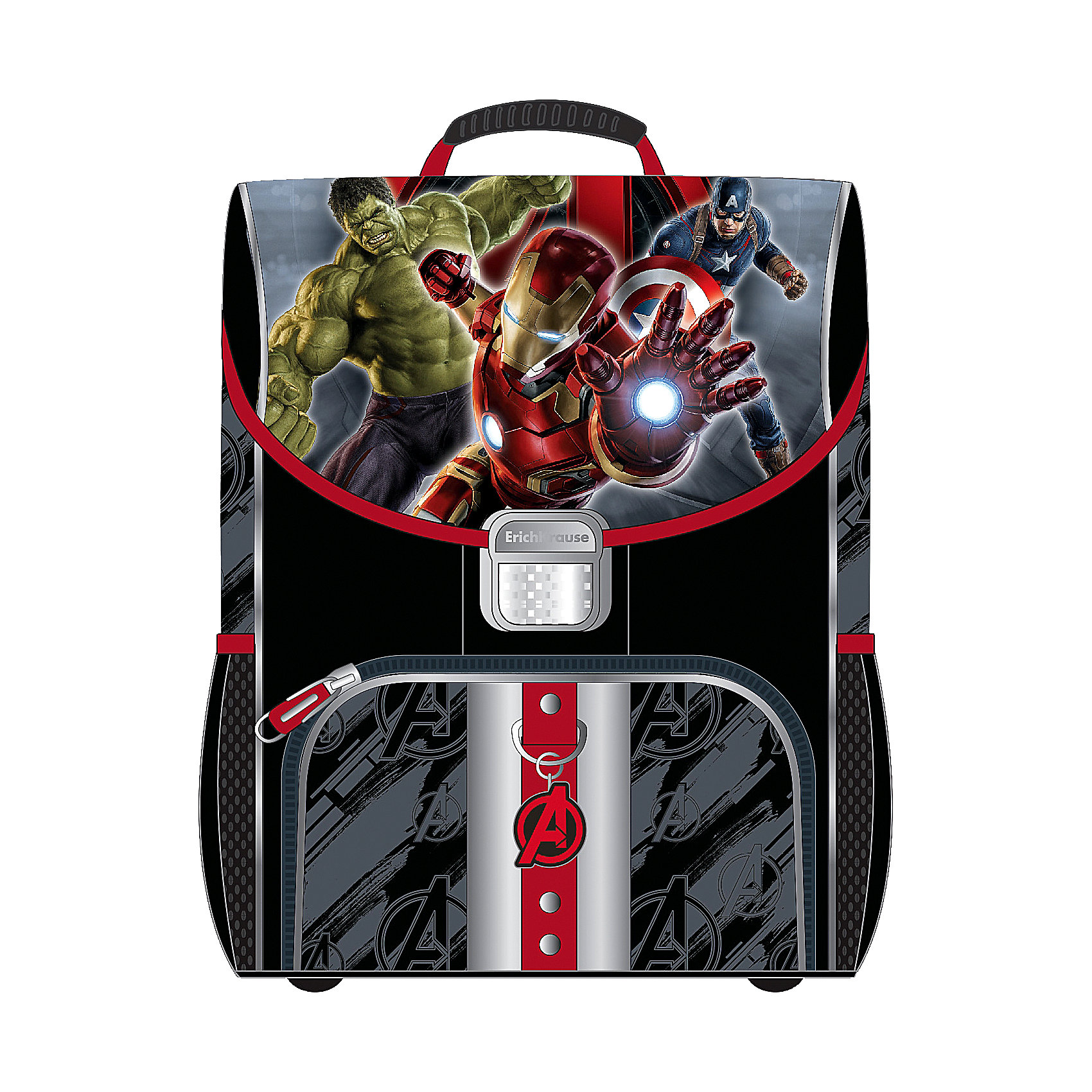 Школьный ранец Мстители-2 с эргономичной спинкойРанец Мстители-2 (Avengers-2), Erich Krause (Эрих Краузе) - удобный и практичный школьный ранец для повседневного использования. Ранец выполнен из прочной долговечной ткани черно-серой расцветки с красными вставками и имеет оригинальный дизайн с изображением популярных супергероев из фильмов и комиксов. У ранца твердая спинка с эргономичной конструкцией, которая не дает ребенку сутулиться и предотвращает нарушение осанки. Система противооткидов позволяет контролировать положения ранца на спине. Широкие мягкие лямки, регулируемые по длине, равномерно распределяют нагрузку на плечевой пояс. Также есть удобная пластиковая ручка, за которую можно нести ранец. Жесткое пластиковое дно с ножками защищает от загрязнений.<br><br>Ранец закрывается на прочный металлический замок, внутри одно основное просторное отделение с двумя складывающимися отделениями и большим карманом на молнии для аксессуаров. Также имеются два маленьких сетчатых кармана по бокам и большой накладной карман с застежкой-молнией на лицевой стороне Светоотражающие элементы на лицевой части, боковых сторонах и лямках повышают безопасность ребенка в темноте. При загрязнении ранец легко очищается водой с мылом.<br><br>Дополнительная информация:<br>- Материал: полиэстер.  <br>- Размер: 37 х 29 х 19 см.<br>- Вес: 680 г.<br><br>Ранец Мстители-2 (Avengers-2) с эргономичной спинкой (Generic), Erich Krause (Эрих Краузе), можно купить в нашем интернет-магазине.<br><br>Ширина мм: 290<br>Глубина мм: 190<br>Высота мм: 370<br>Вес г: 1470<br>Возраст от месяцев: 72<br>Возраст до месяцев: 96<br>Пол: Мужской<br>Возраст: Детский<br>SKU: 4058097