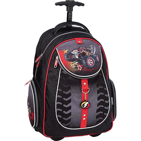 ErichKrause Рюкзак школьный на колесахДорожные сумки и чемоданы<br>Рюкзак BigFoot на колесах - удобный практичный рюкзак, который замечательно подойдет не только для школьных занятий, но также для поездок и путешествий. Рюкзак выполнен из прочного и легкого водонепроницаемого материала. Вашему ребенку непременно понравится стильный оригинальный дизайн с черно-серой расцветкой и изображением мощного внедорожника. У рюкзака уплотненная спинка из комфортного дышащего материала, широкие мягкие лямки, регулируются по длине и складываются в специальный карман, расположенный на спинке рюкзака. Отличительное достоинство данной модели - ее можно катить как тележку: корпус рюкзака оснащен выдвижной телескопической ручкой и резиновыми колесиками на подшипниках, которые закрываются при транспортировке рюкзака на спине, дно непромокаемое.<br><br>Рюкзак закрывается на застежку-молнию, внутри одно основное просторное отделение с тканевой перегородкой. Также имеются два кармана на молнии по бокам и большой карман с застежкой-молнией на лицевой стороне. Светоотражающие элементы повышают безопасность ребенка в темноте. <br><br>Дополнительная информация:<br><br>- Материал: полиэстер.  <br>- Длина ручки: 75 см.<br>- Размер рюкзака: 38 х 28 х 14 см.<br>- Вес: 2 кг.<br><br>Рюкзак BigFoot на колесах, Erich Krause (Эрих Краузе), можно купить в нашем интернет-магазине.<br><br>Ширина мм: 310<br>Глубина мм: 180<br>Высота мм: 440<br>Вес г: 1960<br>Возраст от месяцев: 72<br>Возраст до месяцев: 144<br>Пол: Мужской<br>Возраст: Детский<br>SKU: 4058099