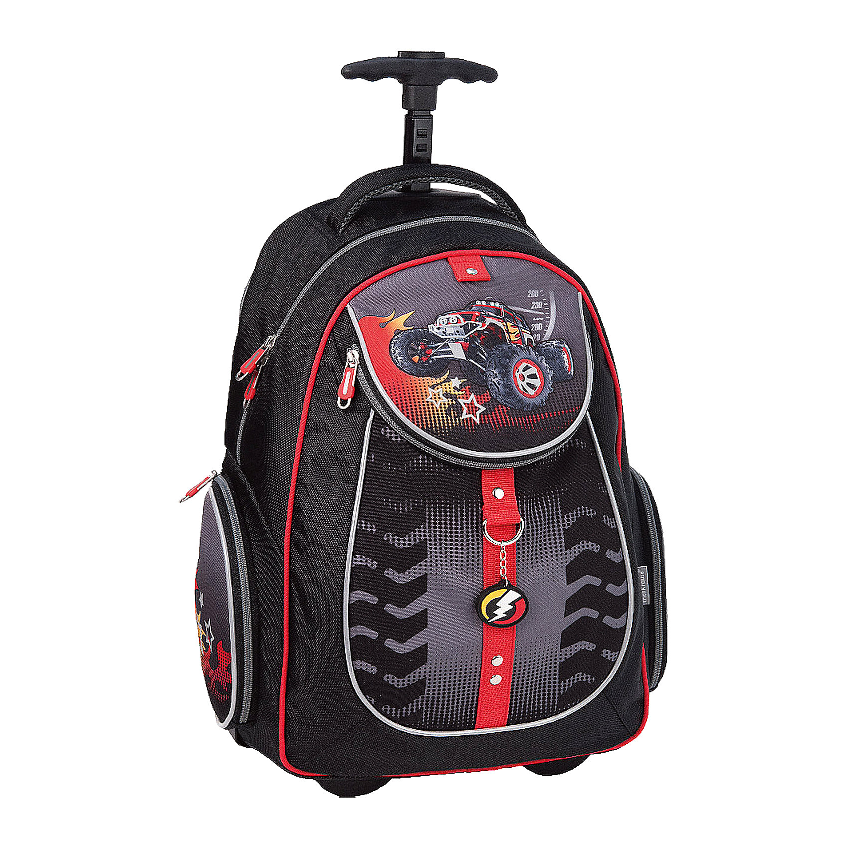 Школьный рюкзак на колесах BigFootРюкзак BigFoot на колесах - удобный практичный рюкзак, который замечательно подойдет не только для школьных занятий, но также для поездок и путешествий. Рюкзак выполнен из прочного и легкого водонепроницаемого материала. Вашему ребенку непременно понравится стильный оригинальный дизайн с черно-серой расцветкой и изображением мощного внедорожника. У рюкзака уплотненная спинка из комфортного дышащего материала, широкие мягкие лямки, регулируются по длине и складываются в специальный карман, расположенный на спинке рюкзака. Отличительное достоинство данной модели - ее можно катить как тележку: корпус рюкзака оснащен выдвижной телескопической ручкой и резиновыми колесиками на подшипниках, которые закрываются при транспортировке рюкзака на спине, дно непромокаемое.<br><br>Рюкзак закрывается на застежку-молнию, внутри одно основное просторное отделение с тканевой перегородкой. Также имеются два кармана на молнии по бокам и большой карман с застежкой-молнией на лицевой стороне. Светоотражающие элементы повышают безопасность ребенка в темноте. <br><br>Дополнительная информация:<br><br>- Материал: полиэстер.  <br>- Длина ручки: 75 см.<br>- Размер рюкзака: 38 х 28 х 14 см.<br>- Вес: 450 г.<br><br>Рюкзак BigFoot на колесах, Erich Krause (Эрих Краузе), можно купить в нашем интернет-магазине.<br><br>Ширина мм: 310<br>Глубина мм: 180<br>Высота мм: 440<br>Вес г: 1960<br>Возраст от месяцев: 72<br>Возраст до месяцев: 144<br>Пол: Мужской<br>Возраст: Детский<br>SKU: 4058099