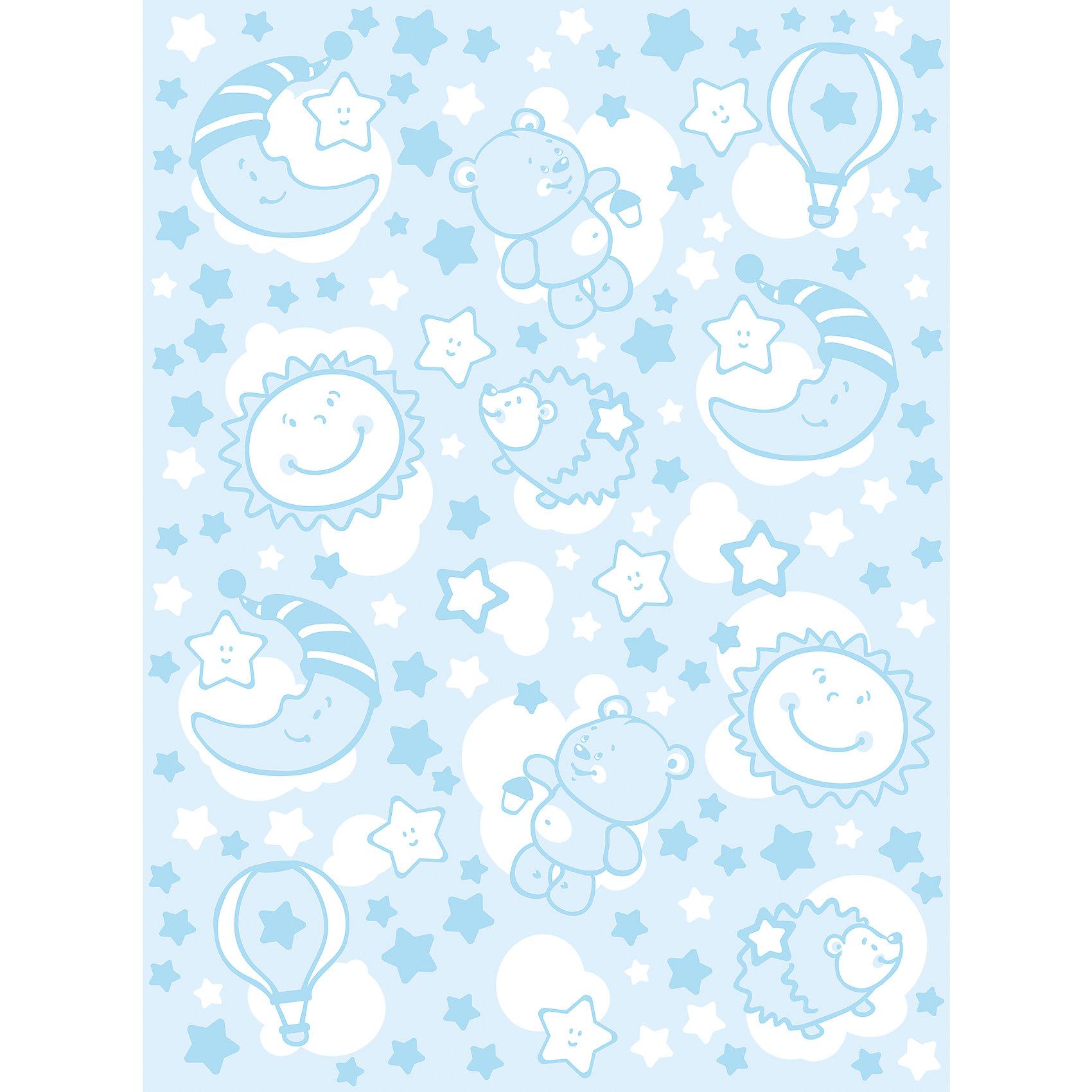 Одеяло байковое Звёздная ночь, 85х115, Baby Nice, голубой