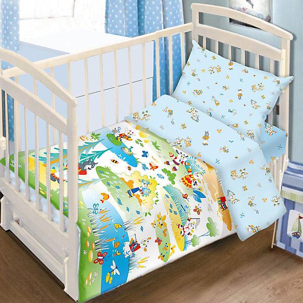 Постельное белье Семеро козлят, 3пред., Baby Nice, голубойПостельное белье в кроватку новорождённого<br>Этот замечательный комплект с героями русских сказок обязательно понравится малышам. Он прекрасно впишется в интерьер детской комнаты. Белье изготовлено из натуральной хлопковой ткани, хорошо пропускает воздух, сохраняет цвет и свойства после стирки. <br><br>Дополнительная информация:<br><br>- Комплектация: наволочка, простыня на резинке, пододеяльник, книжка-раскраска.<br>- Материал: 100% хлопок.<br>- Размер: наволочка 40х60 см, пододеяльник 147х112 см., простыня 110х147 см.<br>- Цвет: голубой. <br>- Декоративные элементы: принт.<br><br>Комплект постельного белья  Семеро козлят, Baby Nice (Беби Найс), голубой, можно купить в нашем магазине.<br>Ширина мм: 40; Глубина мм: 6; Высота мм: 20; Вес г: 900; Возраст от месяцев: 0; Возраст до месяцев: 60; Пол: Мужской; Возраст: Детский; SKU: 4058263;