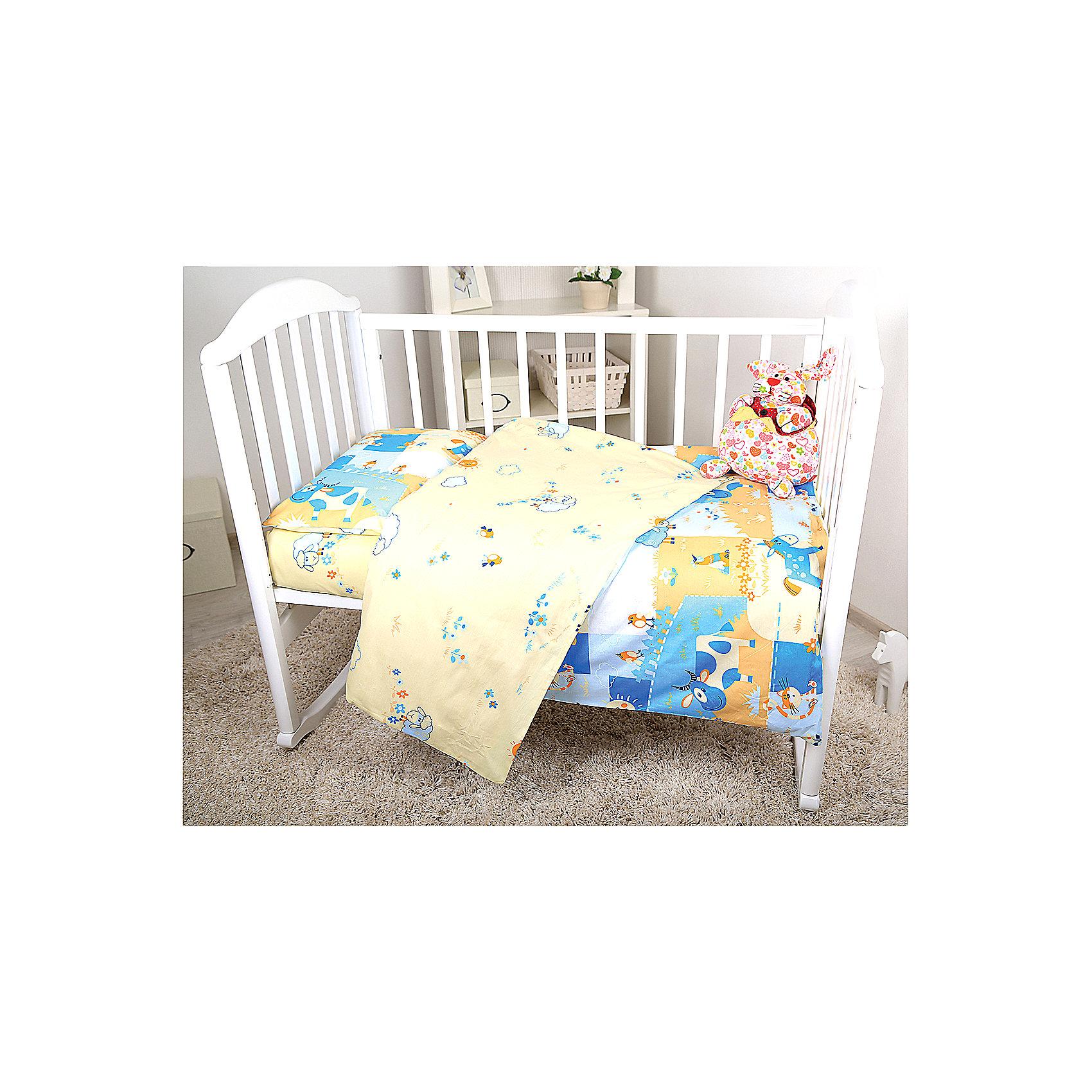 Постельное белье Ферма, 3пред., Baby Nice, голубойОчаровательный комплект постельного белья прекрасно впишется в интерьер детской и порадует малышей милой расцветкой, а их родителей - качеством ткани и идеальной обработкой швов. Сатин - ткань, произведенная из хлопковых волокон, скрученных и переплетенных двойным переплетением. Благодаря такому изготовлению, материал получается очень гладким и приятным к телу. Сохраняя при этом основные свойства хлопка, сатин прекрасно пропускает воздух, позволяя телу дышать, не линяет после стирки, абсолютно гипоаллергенен. <br><br>Дополнительная информация:<br><br>- Комплектация: наволочка, простыня, пододеяльник.<br>- Материал: сатин (100% хлопок).<br>- Размер: наволочка 40х60 см, пододеяльник 147х112 см., простыня 147х100 см.<br>- Цвет: голубой. <br>- Декоративные элементы: принт.<br><br>Комплект постельного белья Ферма, Baby Nice (Беби Найс), голубой, можно купить в нашем магазине.<br><br>Ширина мм: 20<br>Глубина мм: 5<br>Высота мм: 25<br>Вес г: 700<br>Возраст от месяцев: 0<br>Возраст до месяцев: 60<br>Пол: Мужской<br>Возраст: Детский<br>SKU: 4058270