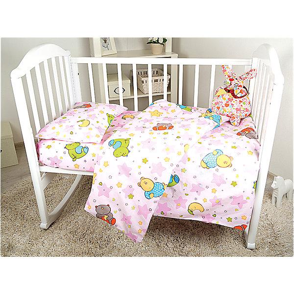 Постельное белье Звездопад, 3пред., Baby Nice, розовыйДетское постельное бельё 3 предмета<br>Постельное белье Звездопад - прекрасный вариант для деткой кроватки. Нежная расцветка и спокойный принт создадут нужную для отдыха атмосферу и подарят крепкий сон вашему крохе. Белье изготовлено из натурального хлопка - безопасного гипоаллергенного материала очень приятного к телу. <br><br>Дополнительная информация:<br><br>- Комплектация: наволочка, простыня, пододеяльник.<br>- Материал: бязь (100% хлопок).<br>- Размер: наволочка 40х60 см, пододеяльник 147х112 см., простыня 147х100 см.<br>- Цвет: розовый. <br>- Декоративные элементы: принт.<br><br>Комплект постельного белья Звездопад, Baby Nice (Беби Найс), розовый, можно купить в нашем магазине.<br><br>Ширина мм: 20<br>Глубина мм: 5<br>Высота мм: 25<br>Вес г: 700<br>Возраст от месяцев: 0<br>Возраст до месяцев: 60<br>Пол: Женский<br>Возраст: Детский<br>SKU: 4058273