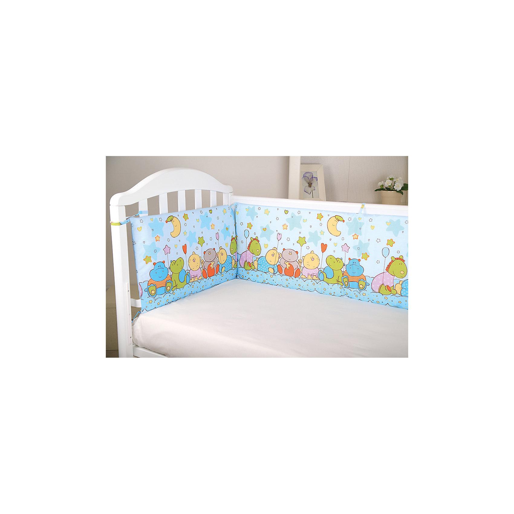 Борт в кроватку Звездопад, Baby Nice, голубойПостельное бельё<br>Мягкий борт в кроватку с нежным принтом и спокойной приятной расцветкой подарит крохе комфорт и безопасность. Борт - раздельный, выполнен из высококачественных гипоаллергенных материалов, сохраняющих цвет и свойства после стирки. <br><br><br>Дополнительная информация:<br><br>- Материал верха:  бязь (хлопок 100%).<br>- Наполнитель: периотек (полиэфирное волокно).<br>- Размер каждого бортика: 35х60 см.<br>- 4 бортика в комплекте.<br>- Цвет: голубой.<br><br>Борт в кроватку Звездопад, Baby Nice (Беби Найс), голубой, можно купить в нашем магазине.<br><br>Ширина мм: 600<br>Глубина мм: 350<br>Высота мм: 50<br>Вес г: 600<br>Возраст от месяцев: 0<br>Возраст до месяцев: 60<br>Пол: Мужской<br>Возраст: Детский<br>SKU: 4058281