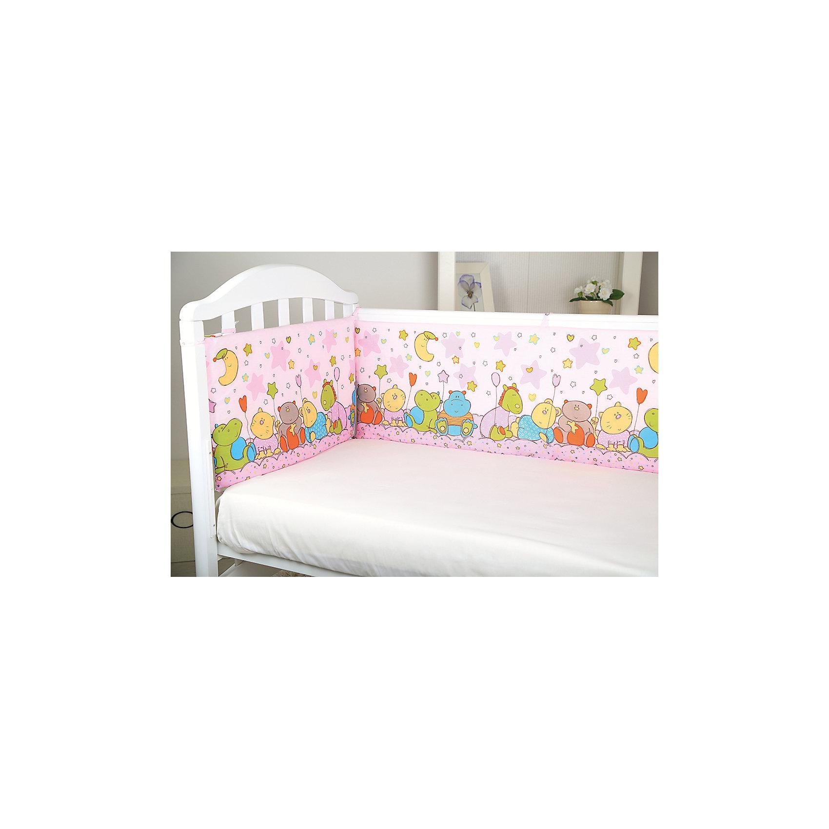 Борт в кроватку Звездопад, Baby Nice, розовыйБортики<br>Мягкий борт в кроватку с нежным принтом и спокойной приятной расцветкой подарит крохе комфорт и безопасность. Борт - раздельный, выполнен из высококачественных гипоаллергенных материалов, сохраняющих цвет и свойства после стирки. <br><br>Дополнительная информация:<br><br>- Материал верха:  бязь (хлопок 100%).<br>- Наполнитель: периотек (полиэфирное волокно).<br>- Размер каждого бортика: 35х60 см.<br>- 4 бортика в комплекте.<br>- Цвет: розовый.<br><br>Борт в кроватку Звездопад, Baby Nice (Беби Найс), розовый, можно купить в нашем магазине.<br><br>Ширина мм: 70<br>Глубина мм: 10<br>Высота мм: 50<br>Вес г: 600<br>Возраст от месяцев: 0<br>Возраст до месяцев: 60<br>Пол: Женский<br>Возраст: Детский<br>SKU: 4058282