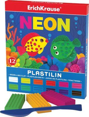 Erich Krause Пластилин Neon (12 цветов, 216г + стек), Artberry